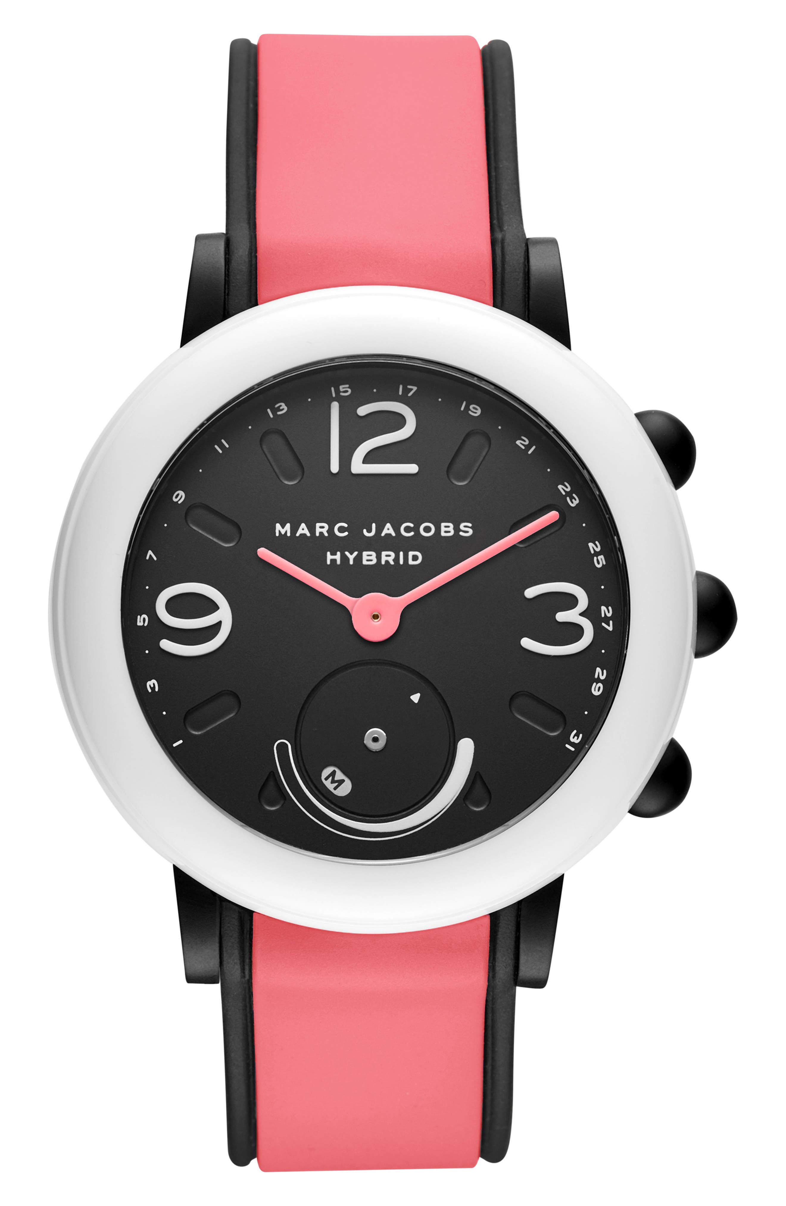 MARC JACOBS, Riley Hybrid Smartwatch, 44mm, Main thumbnail 1, color, BLACK