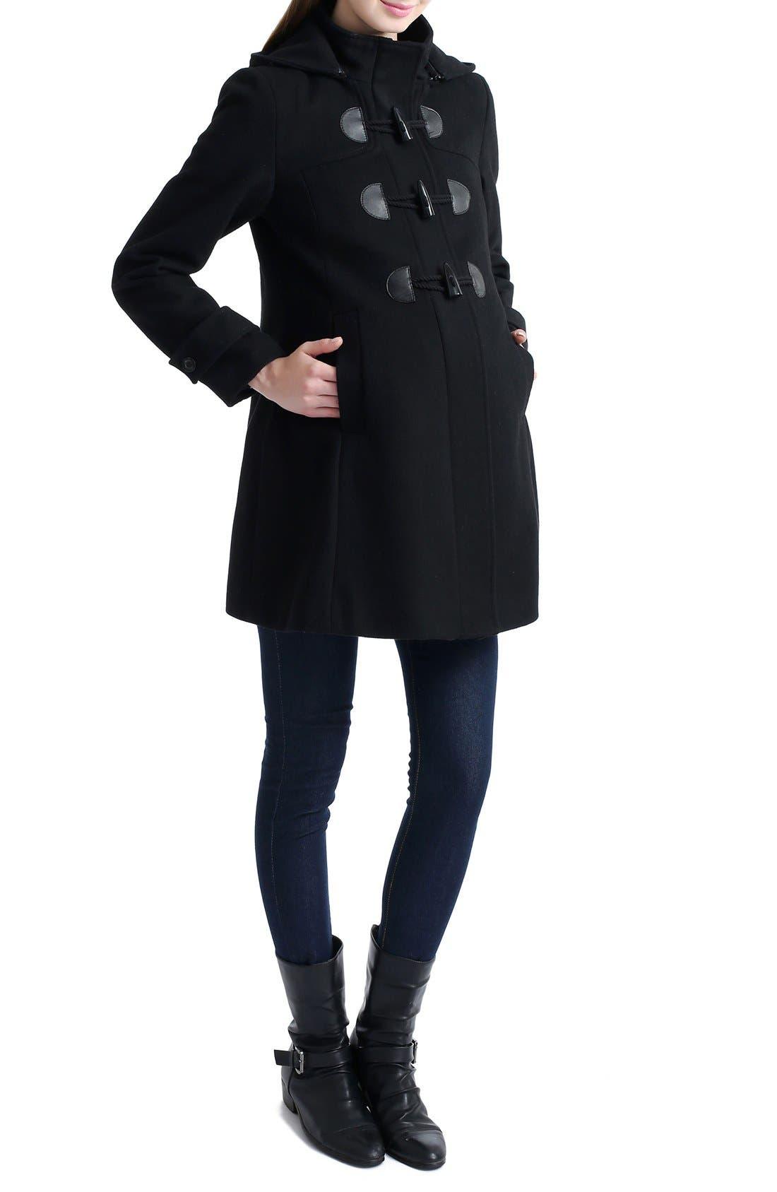 KIMI AND KAI, 'Paisley' Maternity Duffle Coat, Main thumbnail 1, color, BLACK