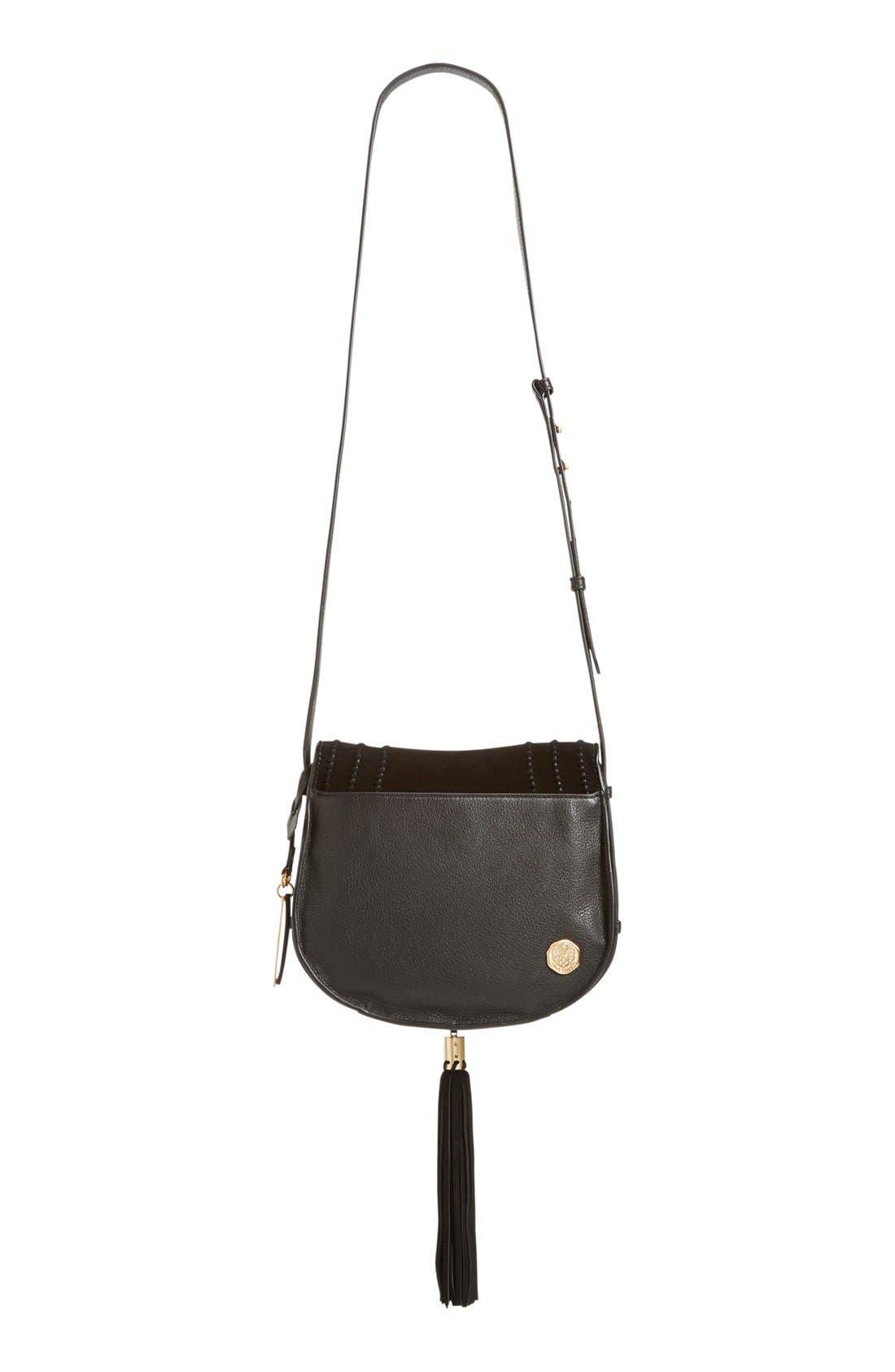 VINCE CAMUTO, 'Izzi' Tassel Leather & Suede Crossbody Bag, Alternate thumbnail 2, color, 001
