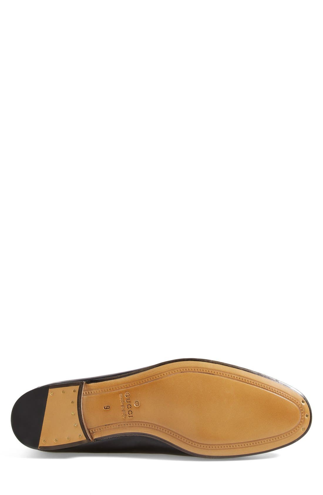 GUCCI, Brixton Leather Loafer, Alternate thumbnail 5, color, NERO LEATHER