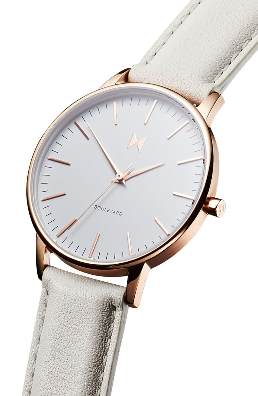 MVMT, Boulevard Leather Strap Watch, 38mm, Alternate thumbnail 3, color, GREY/ WHITE/ ROSE GOLD