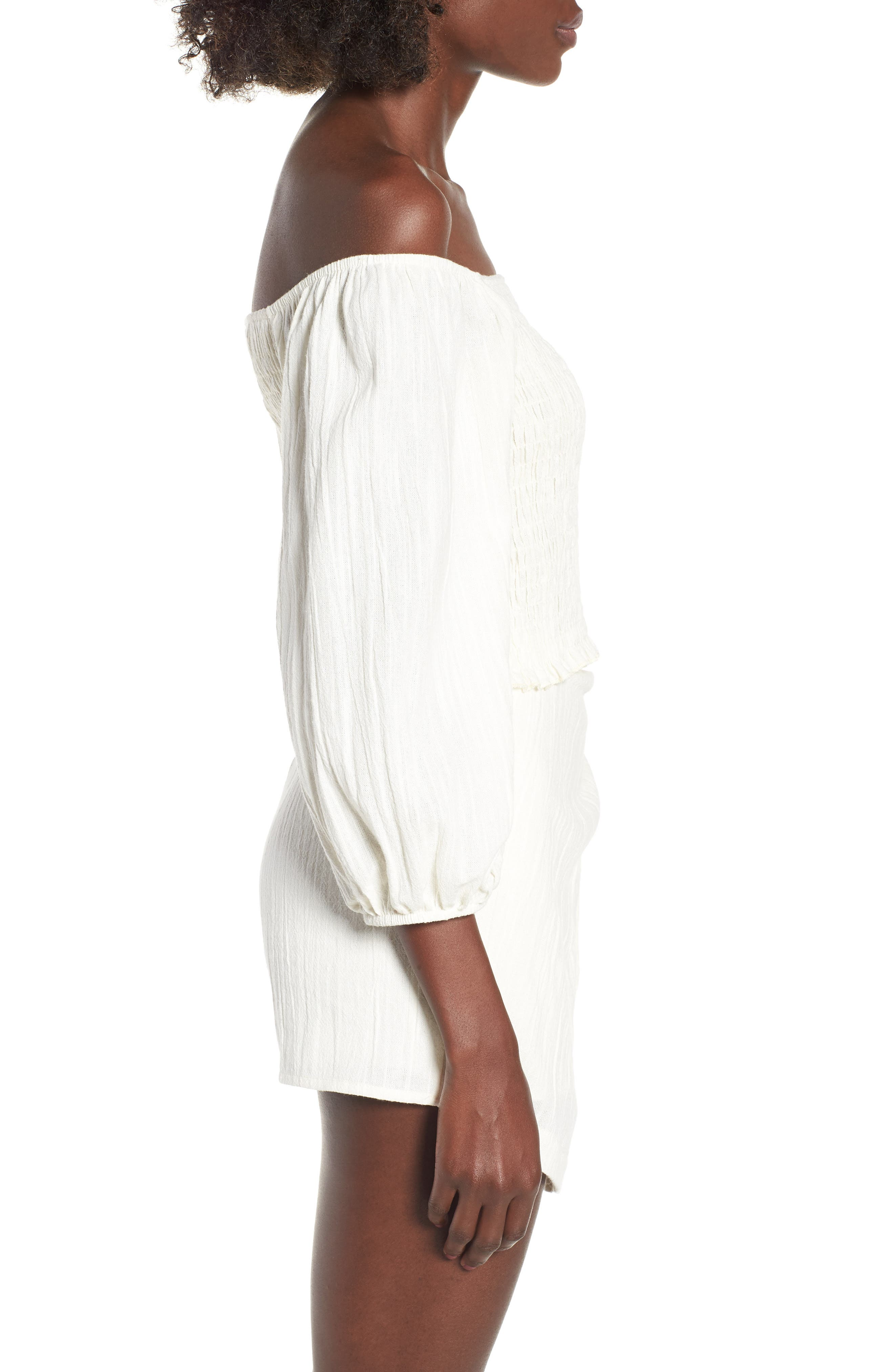 4SI3NNA, Smocked Off the Shoulder Top, Alternate thumbnail 3, color, 900