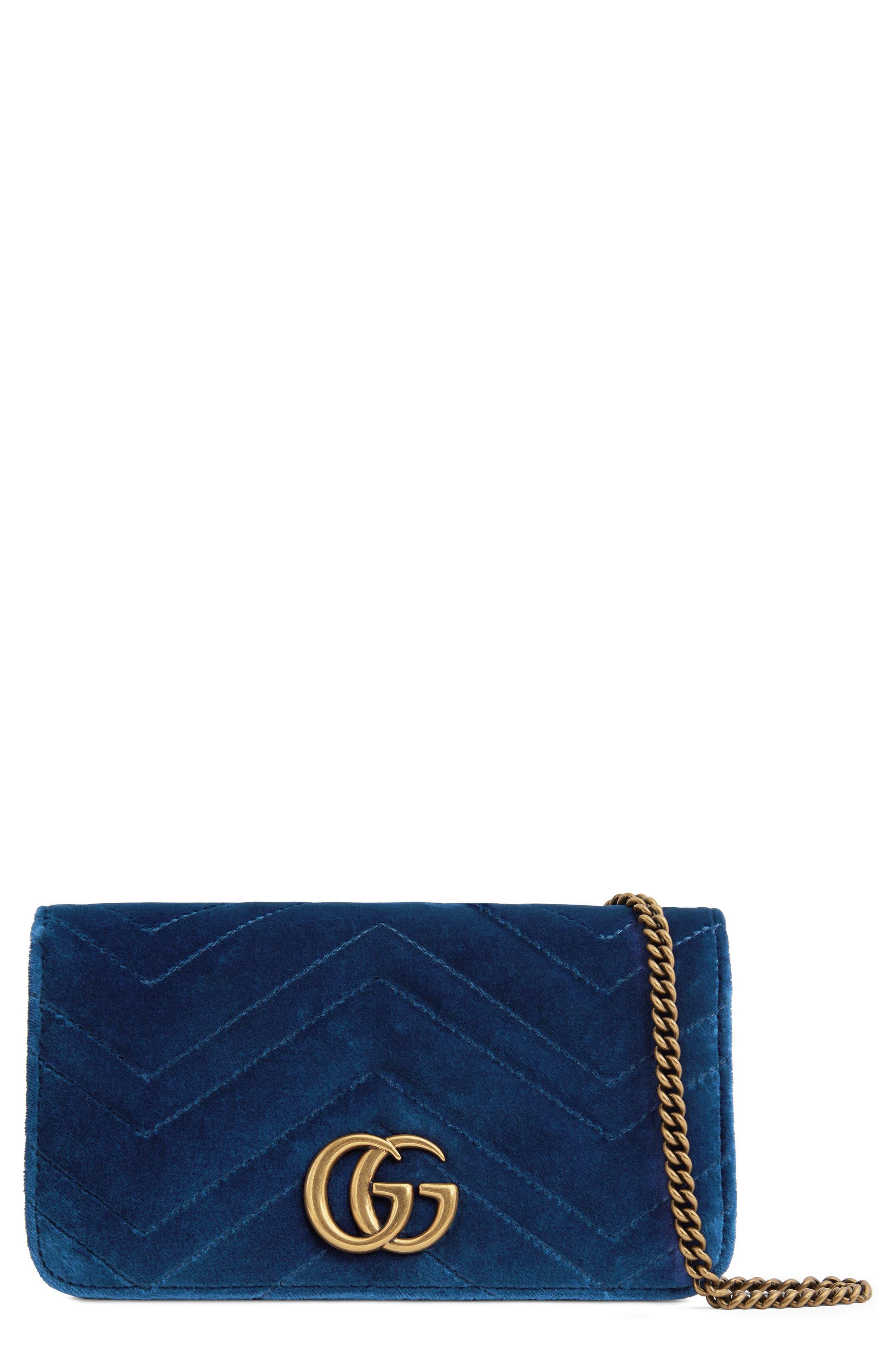 GUCCI, GG Marmont 2.0 Matelassé Velvet Shoulder Bag, Main thumbnail 1, color, COBALT/ COBALT