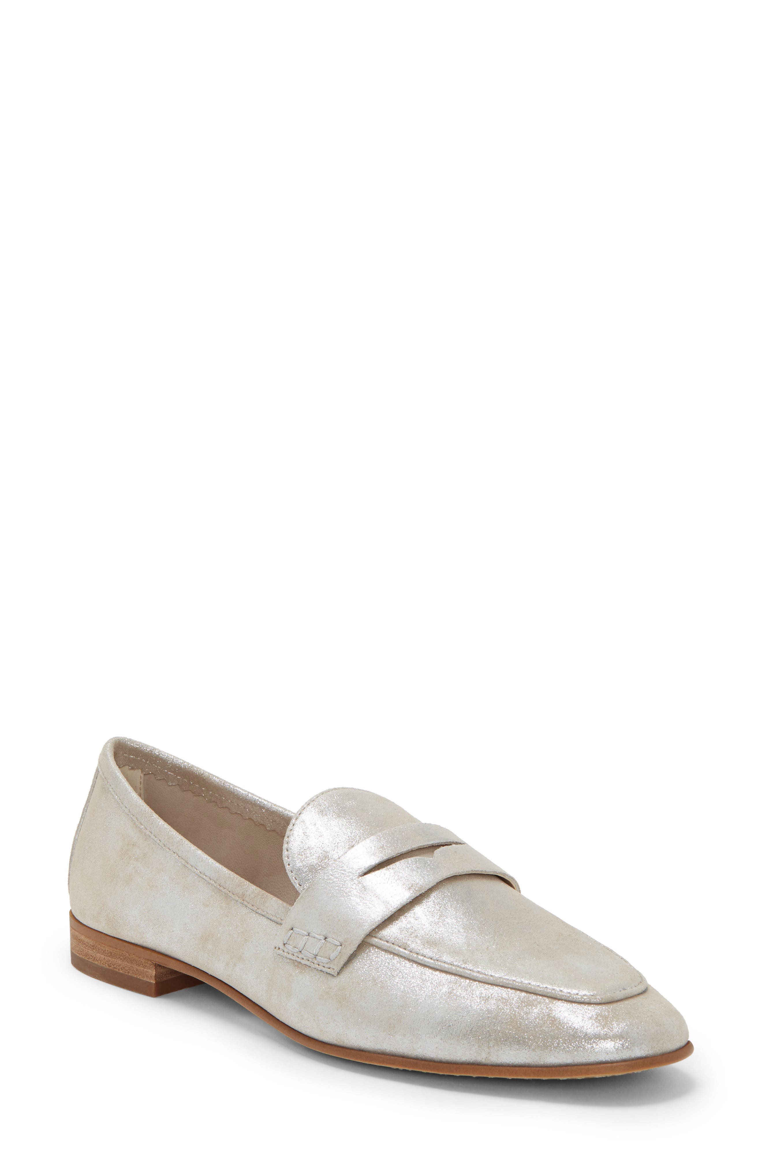 VINCE CAMUTO, Macinda Penny Loafer, Main thumbnail 1, color, SANDY SILVER SUEDE