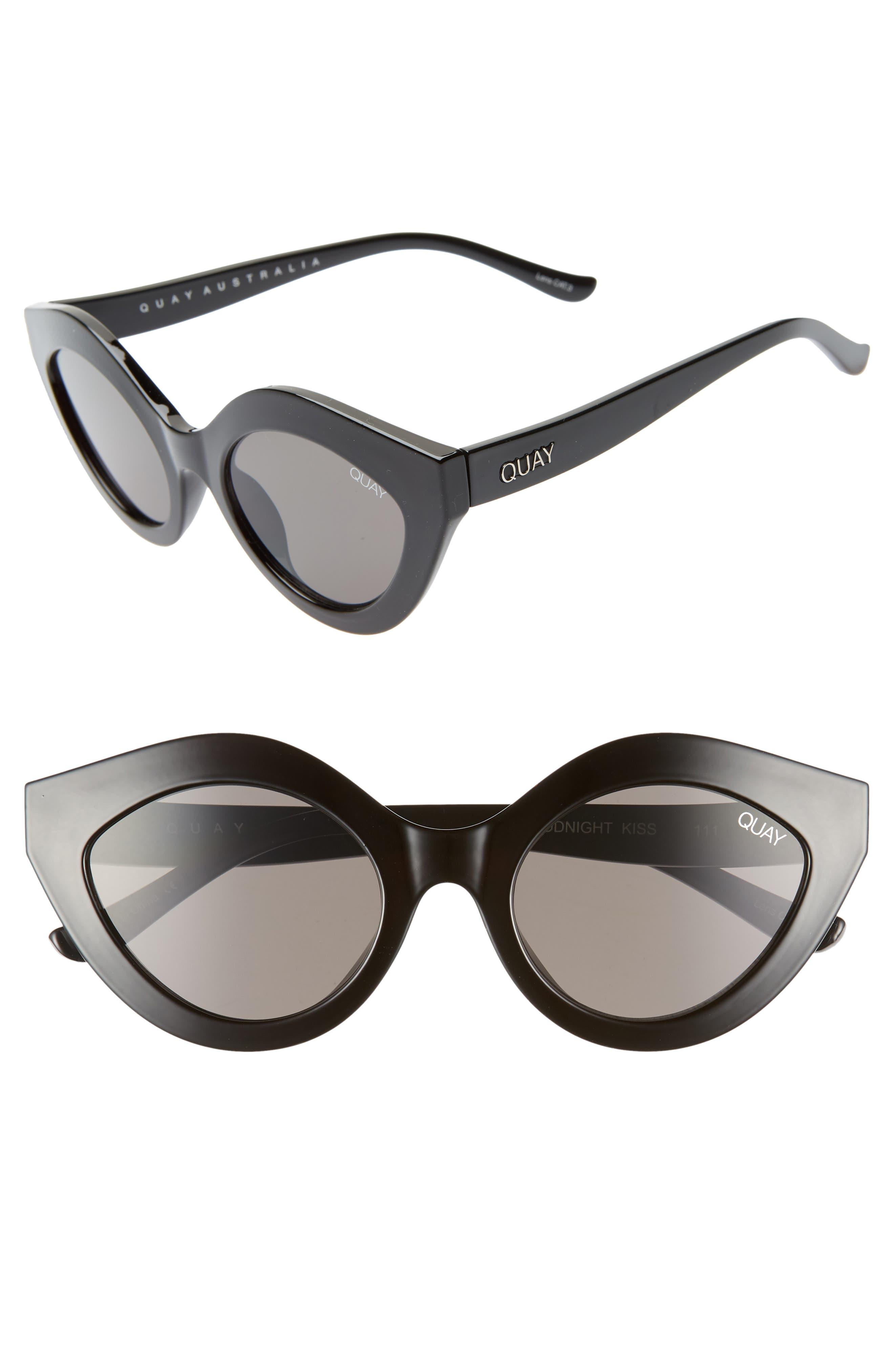 QUAY AUSTRALIA, Goodnight Kiss Cat Eye Sunglasses, Main thumbnail 1, color, BLACK / SMOKE