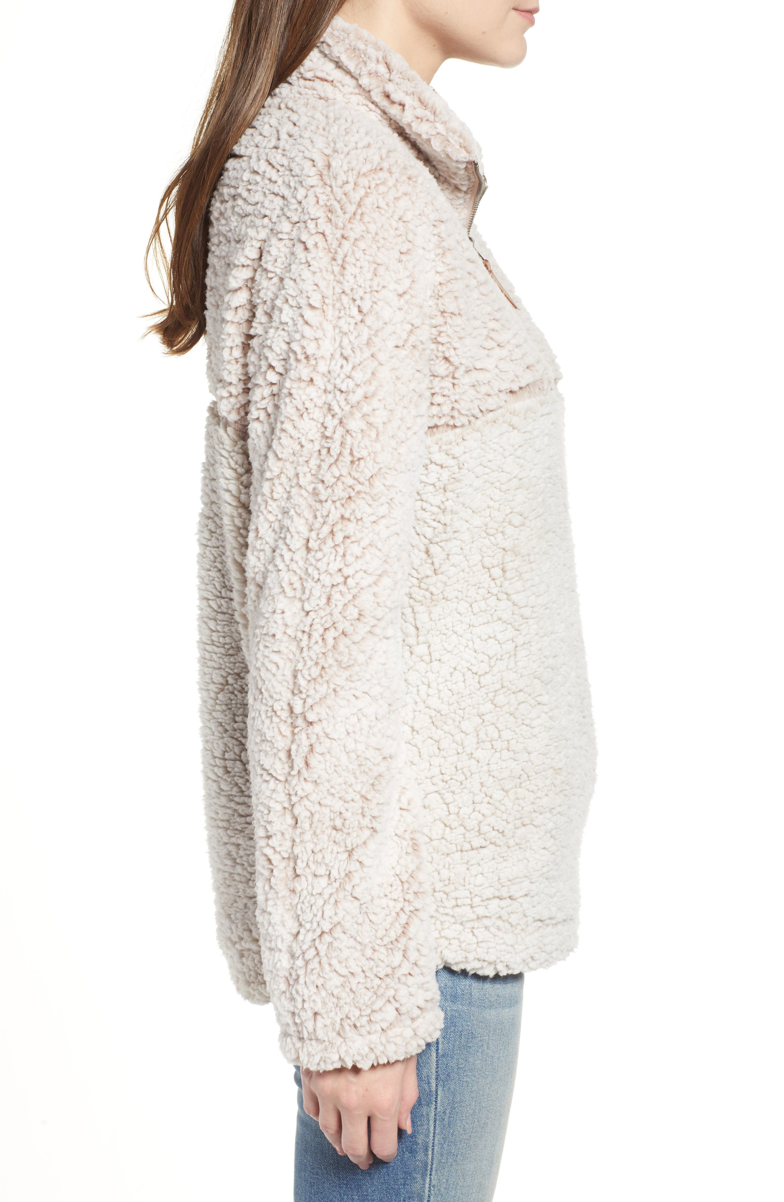 THREAD & SUPPLY, Colorblock Wubby Fleece Pullover, Alternate thumbnail 3, color, SMOKE ROSE IVORY