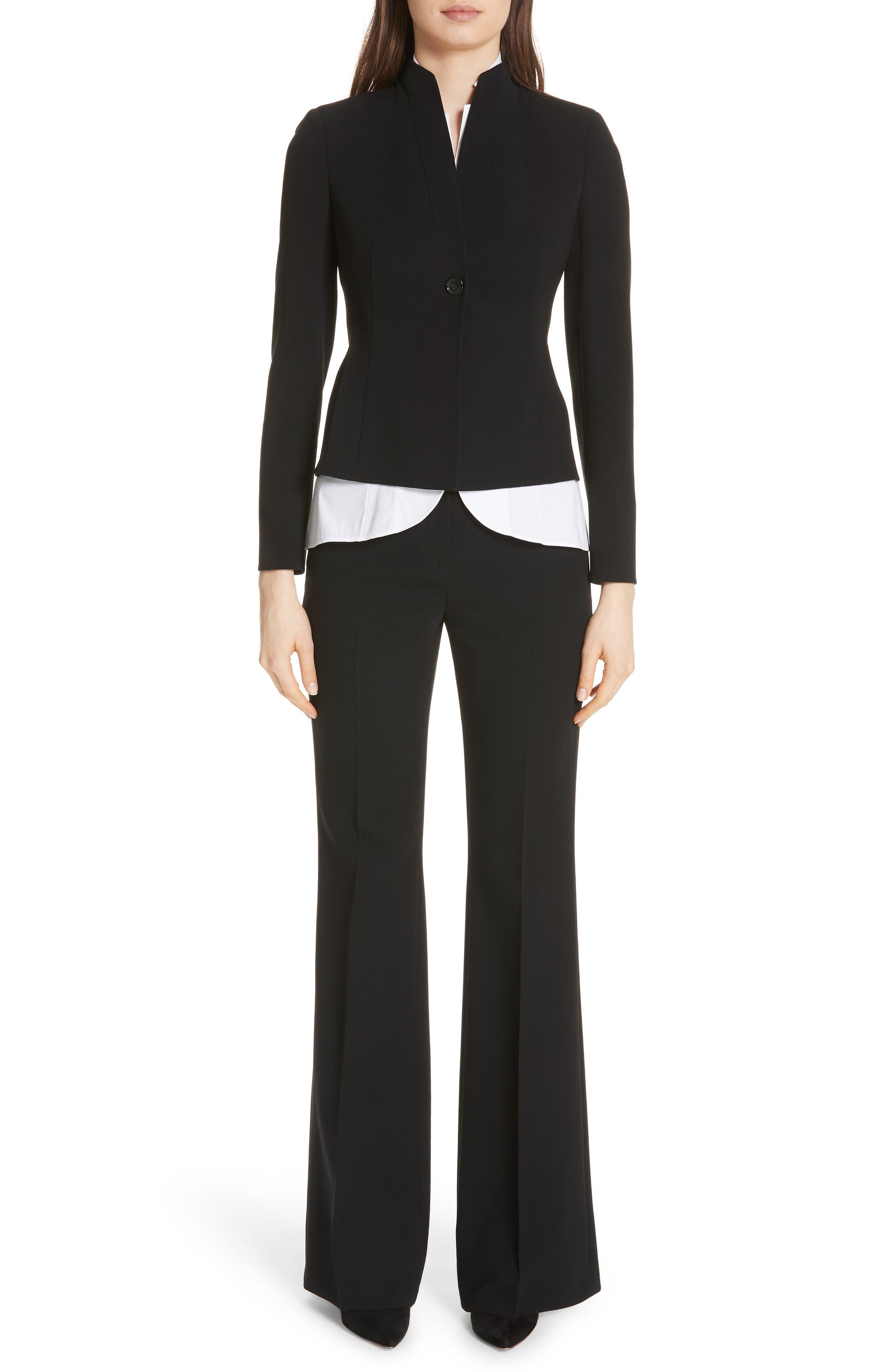 AKRIS, Farrah Stretch Wool Flare Pants, Alternate thumbnail 7, color, BLACK