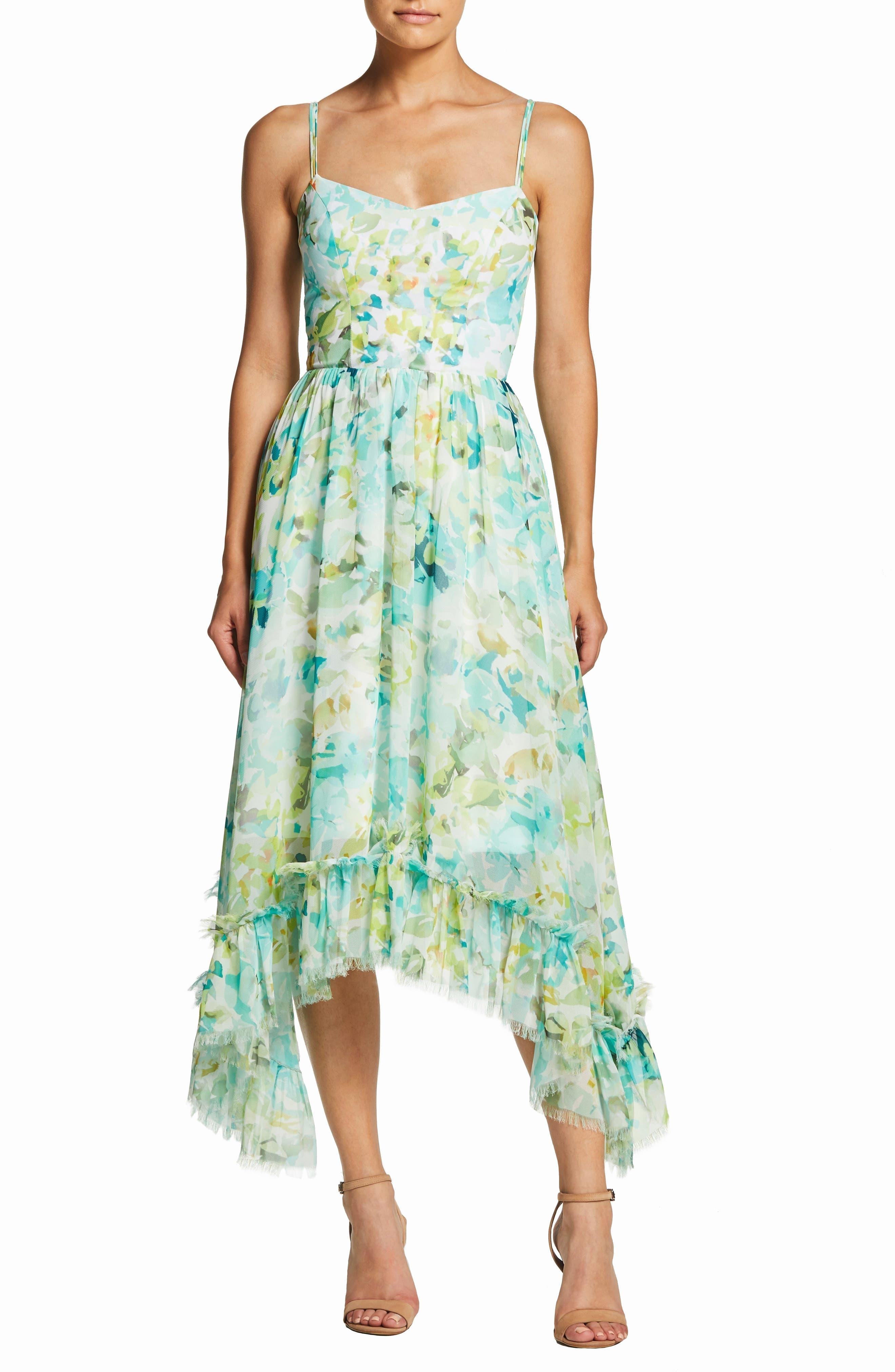 Dress The Population Judy Crescent Flounce Dress, Blue/green