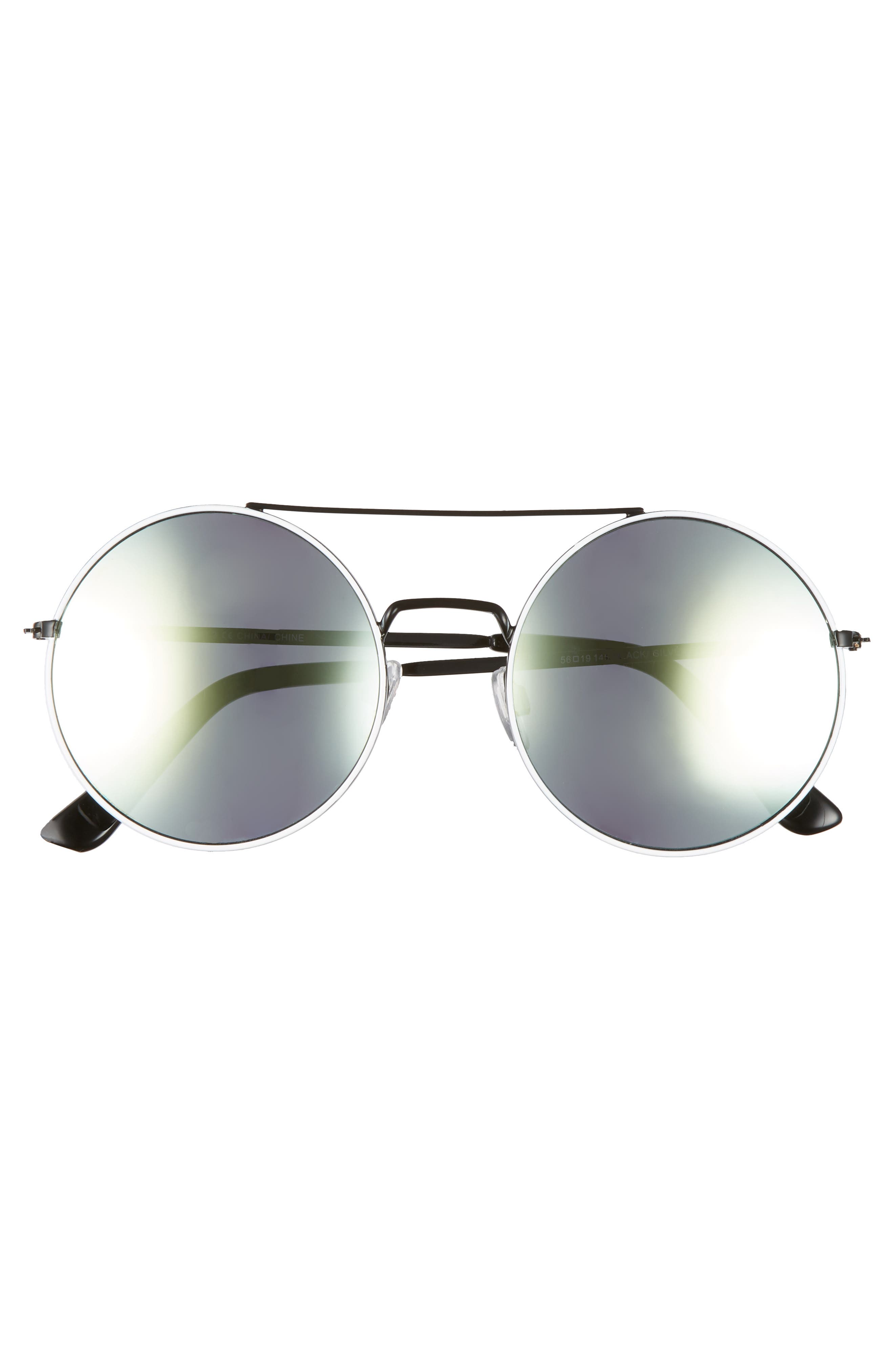 THE RAIL, Tori 55mm Round Sunglasses, Alternate thumbnail 2, color, BLACK/ SILVER