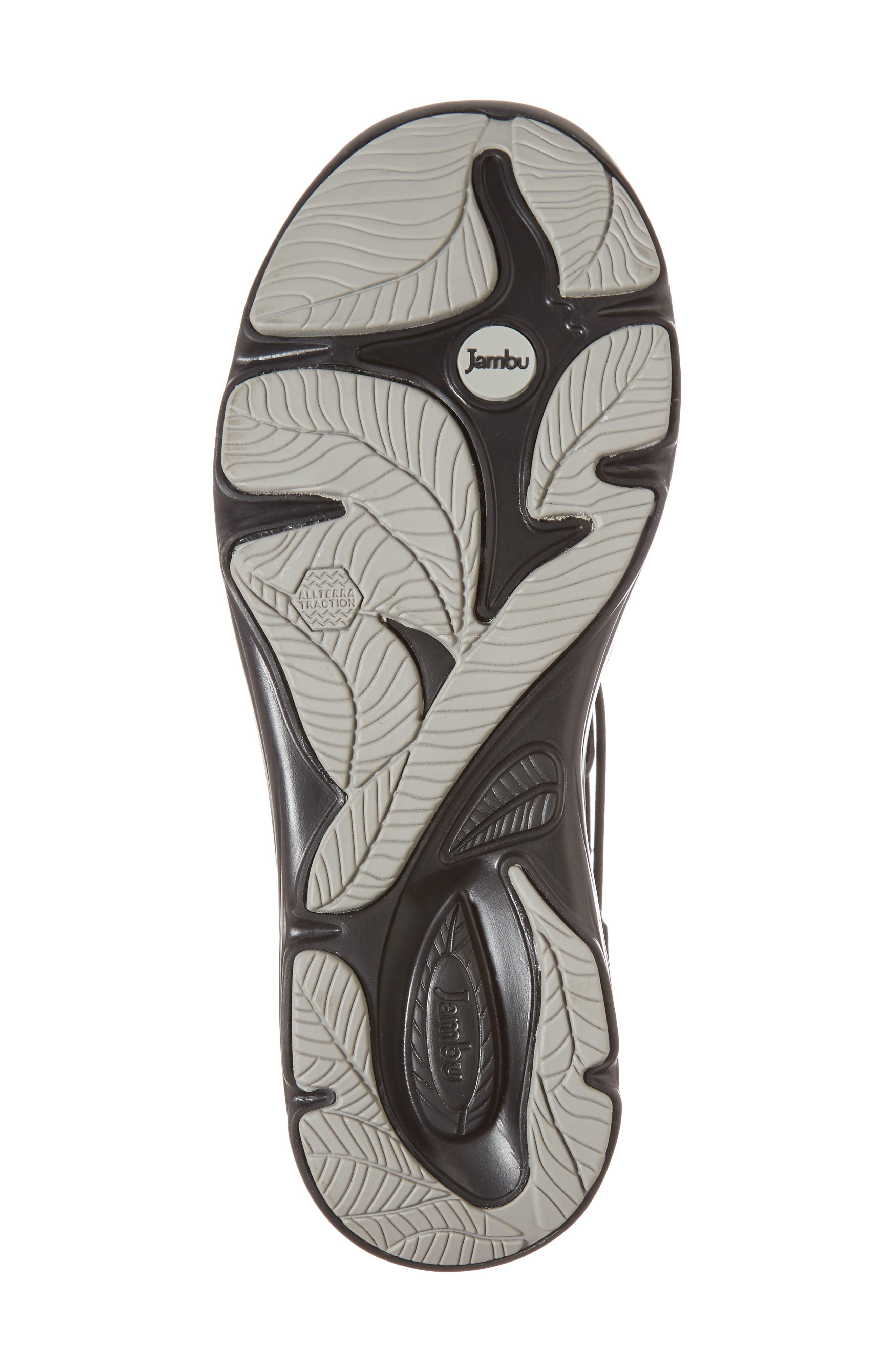 JAMBU, Naomi Perforated Wedge Sandal, Alternate thumbnail 6, color, BLACK SUEDE
