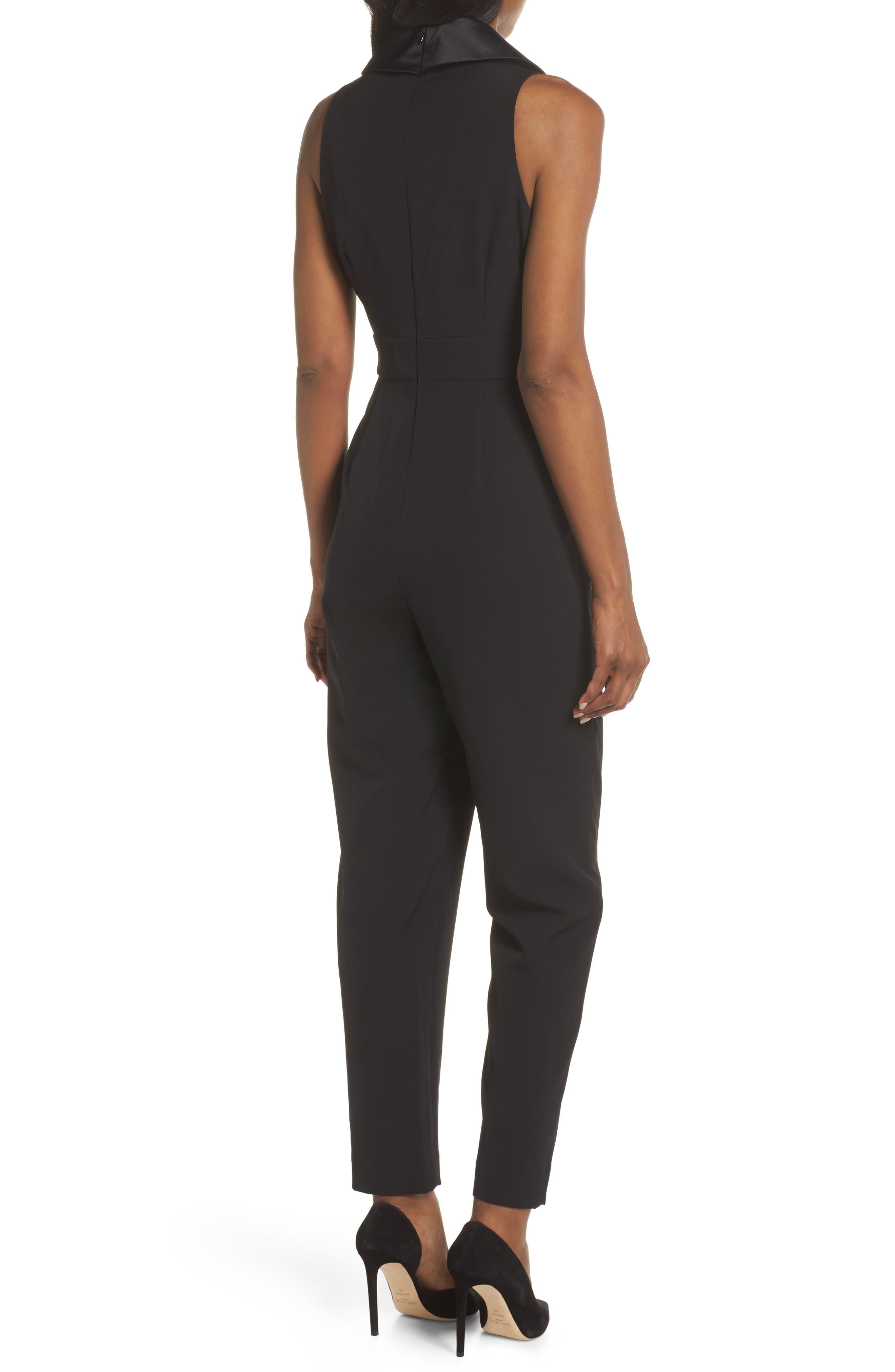 ELIZA J, Tuxedo Jumpsuit, Alternate thumbnail 2, color, BLACK