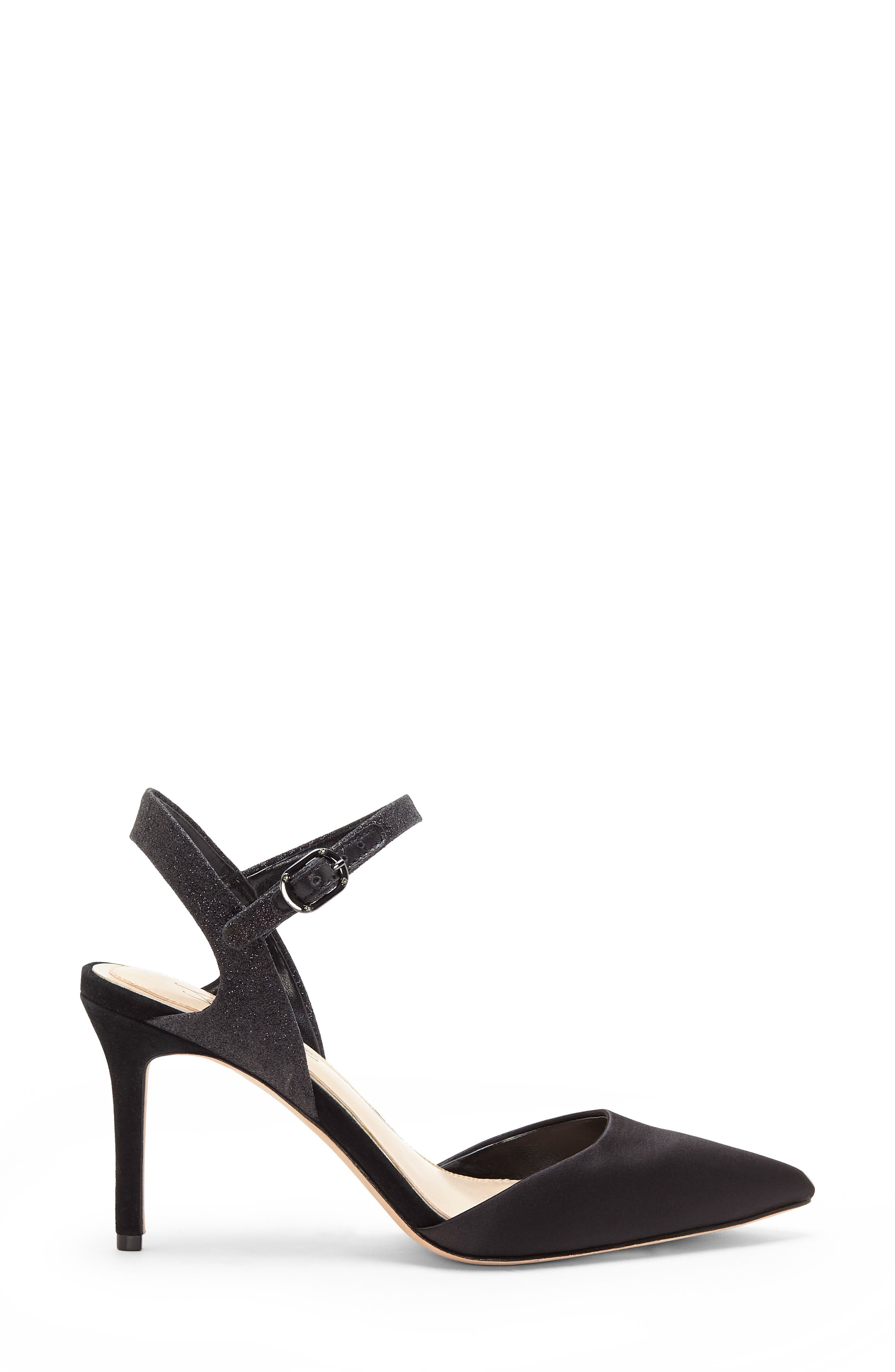 IMAGINE BY VINCE CAMUTO, Glora Pointy Toe Pump, Alternate thumbnail 3, color, BLACK SATIN