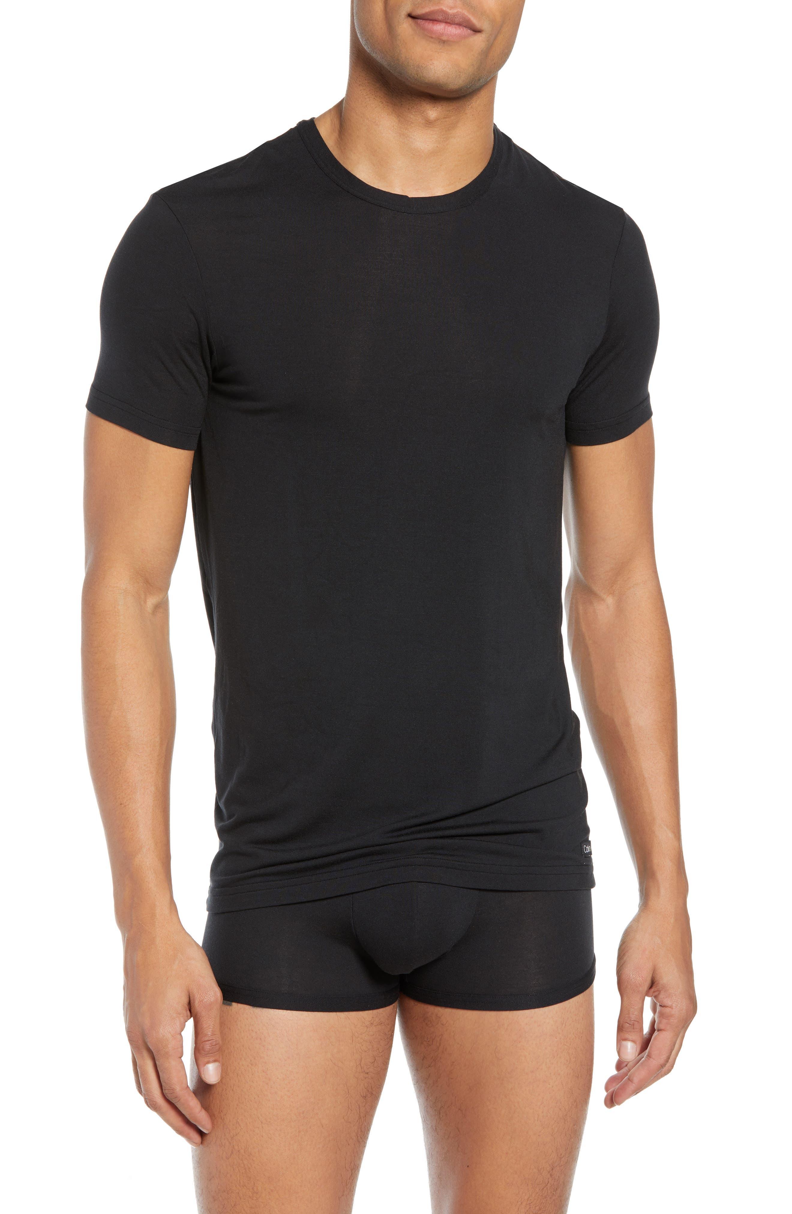 CALVIN KLEIN, Ultrasoft Stretch Modal Blend Crewneck T-Shirt, Main thumbnail 1, color, BLACK