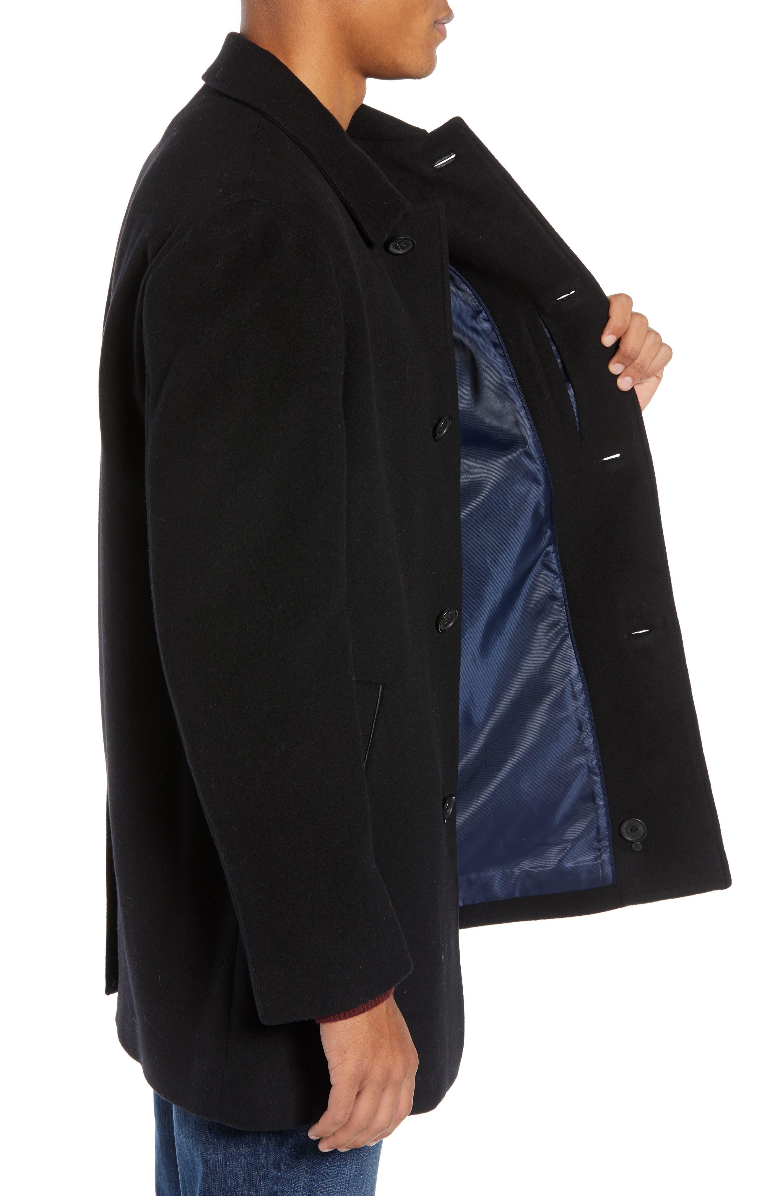 COLE HAAN, Italian Wool Blend Overcoat, Alternate thumbnail 4, color, 001
