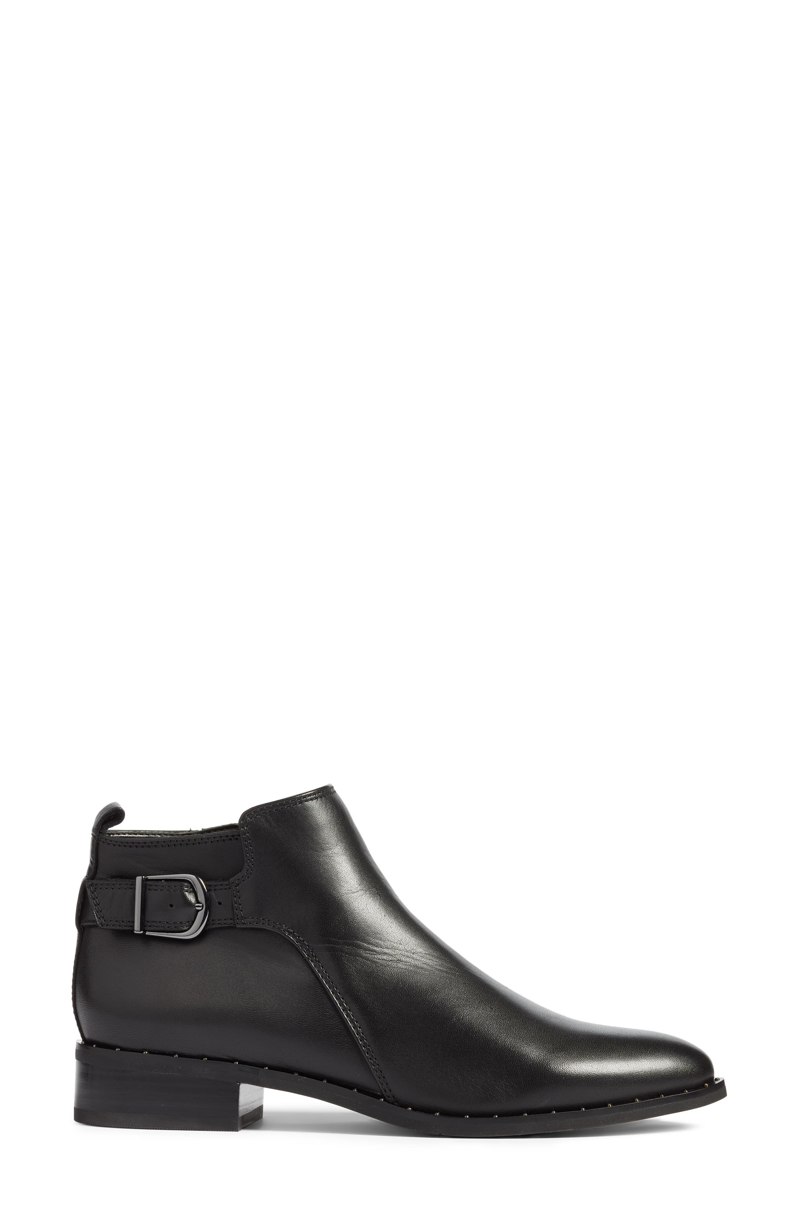 BLONDO, Tami Waterproof Moto Boot, Alternate thumbnail 3, color, BLACK LEATHER