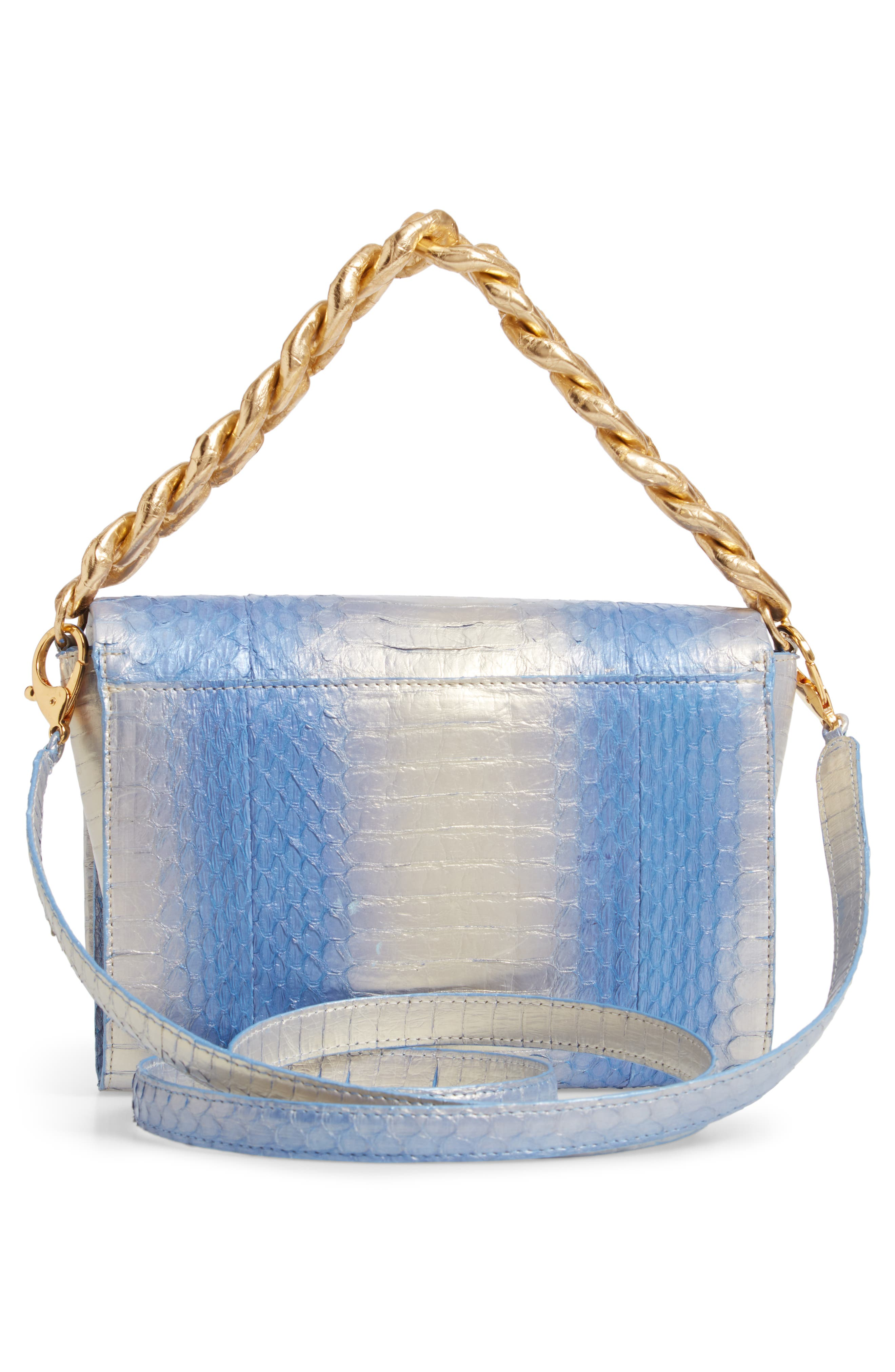 NANCY GONZALEZ, Small Carrie Genuine Crocodile Clutch, Alternate thumbnail 4, color, SILVER/ BLUE DEGRADE/ GOLD