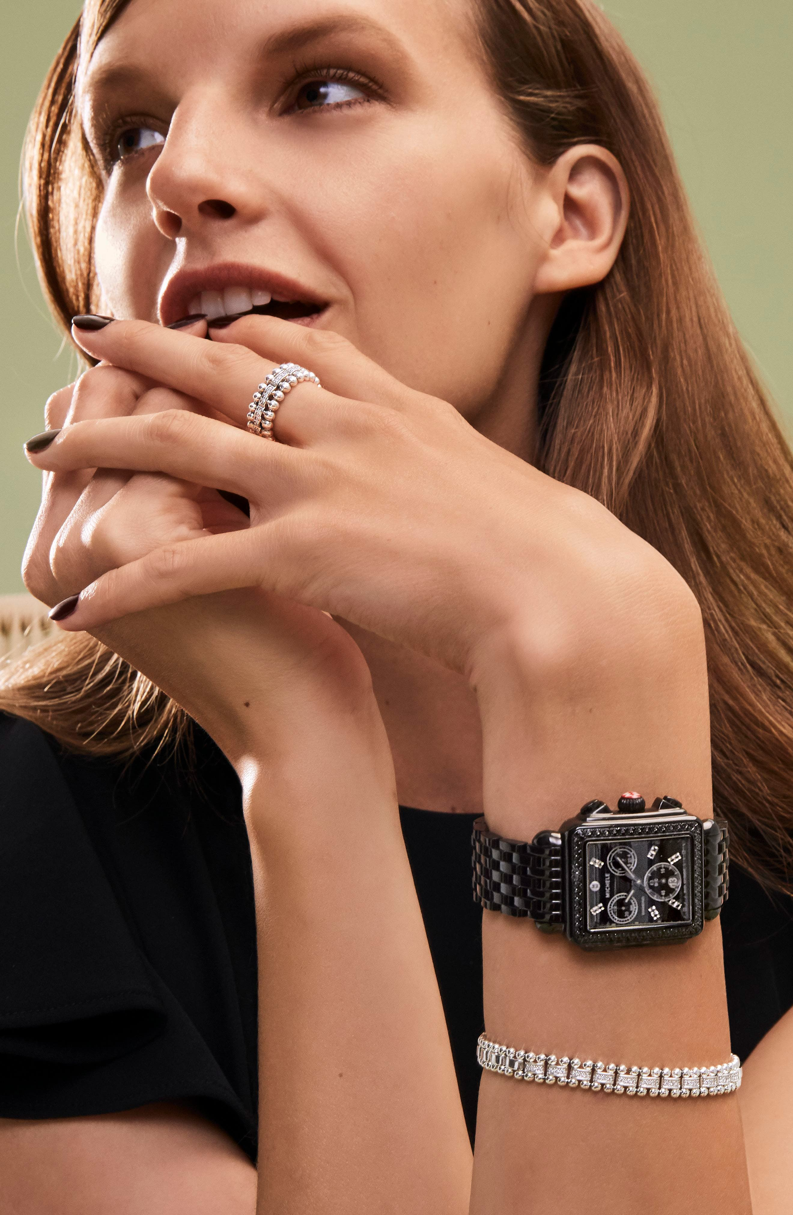 MICHELE, Deco Diamond Watch Head & Bracelet, 34mm x 35mm, Alternate thumbnail 3, color, BLACK