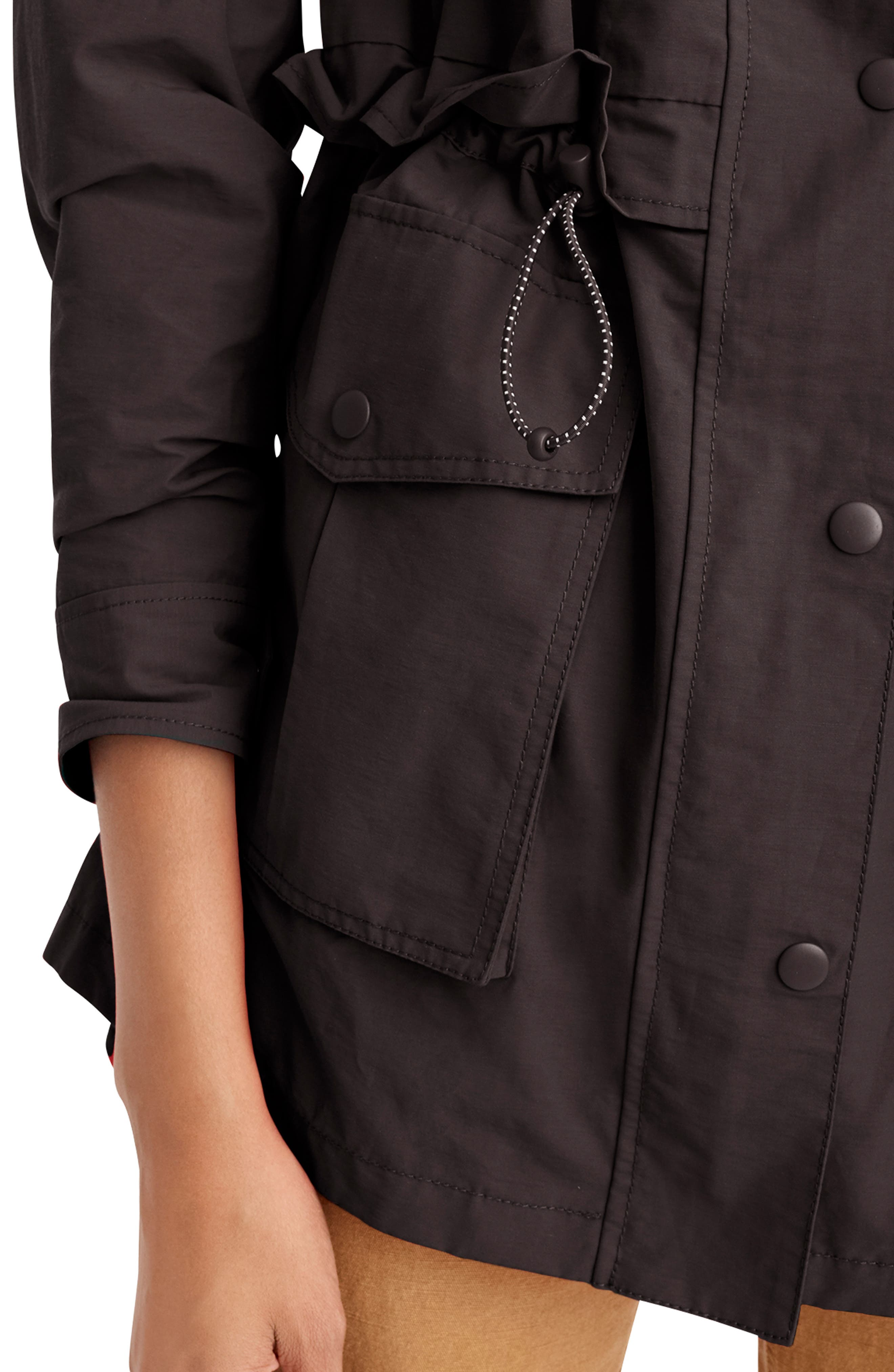 J.CREW, Perfect Raincoat, Alternate thumbnail 2, color, BLACK