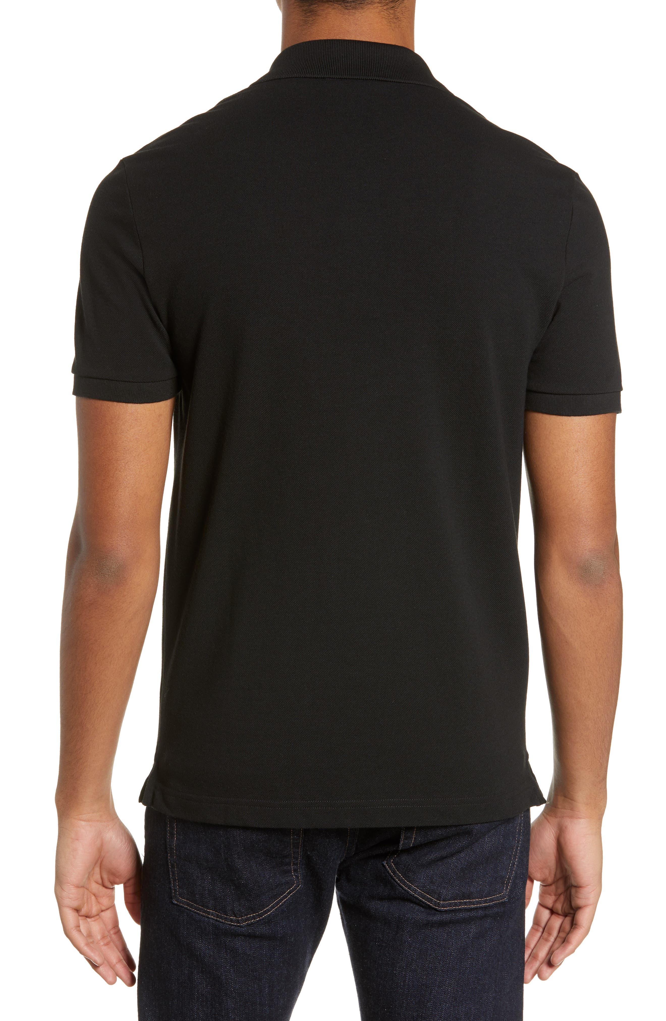 LACOSTE, Slim Fit Piqué Polo, Alternate thumbnail 2, color, BLACK