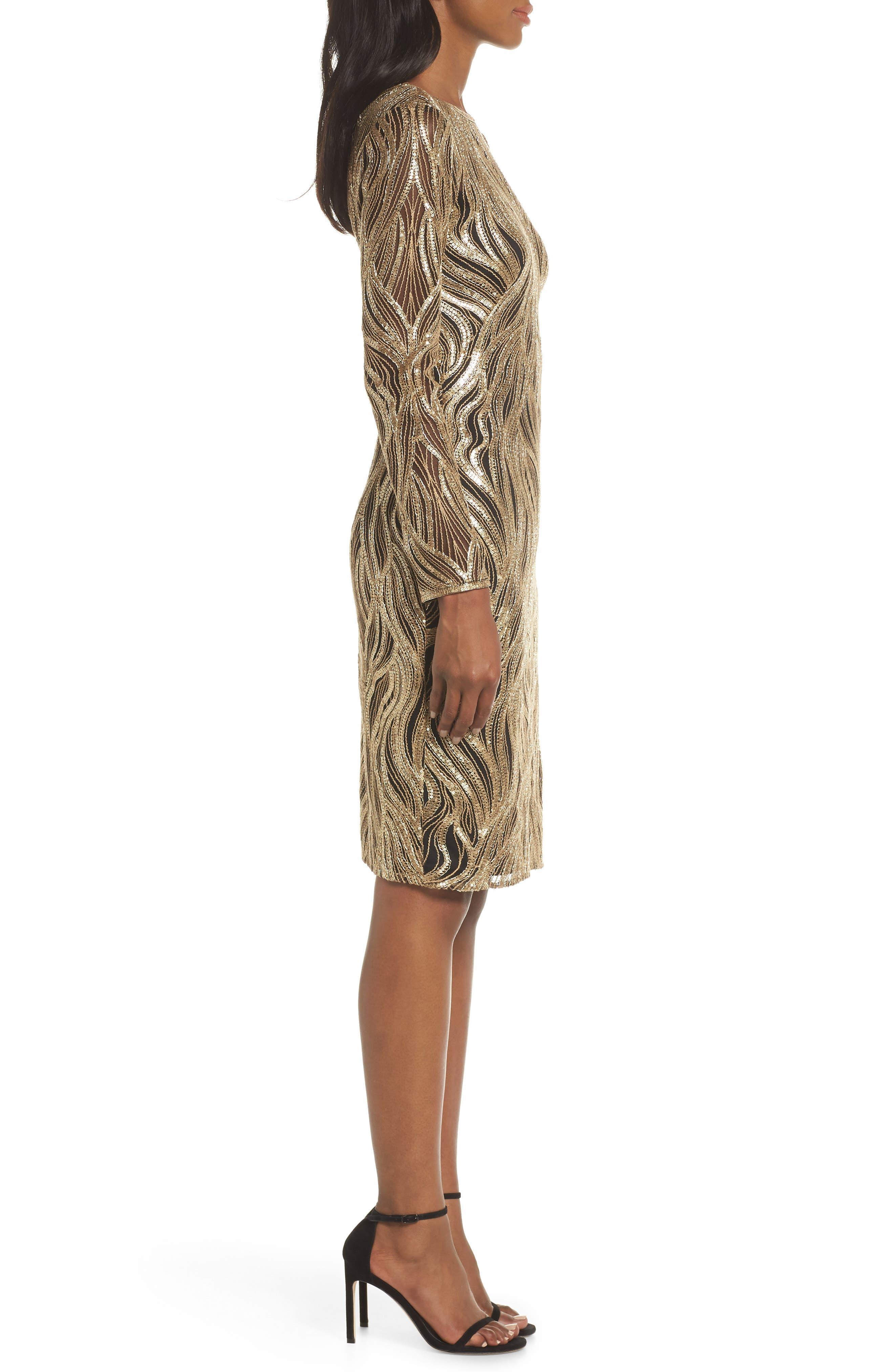 TADASHI SHOJI, Long Sleeve Sequin Mesh Cocktail Dress, Alternate thumbnail 4, color, GOLD/ BLACK