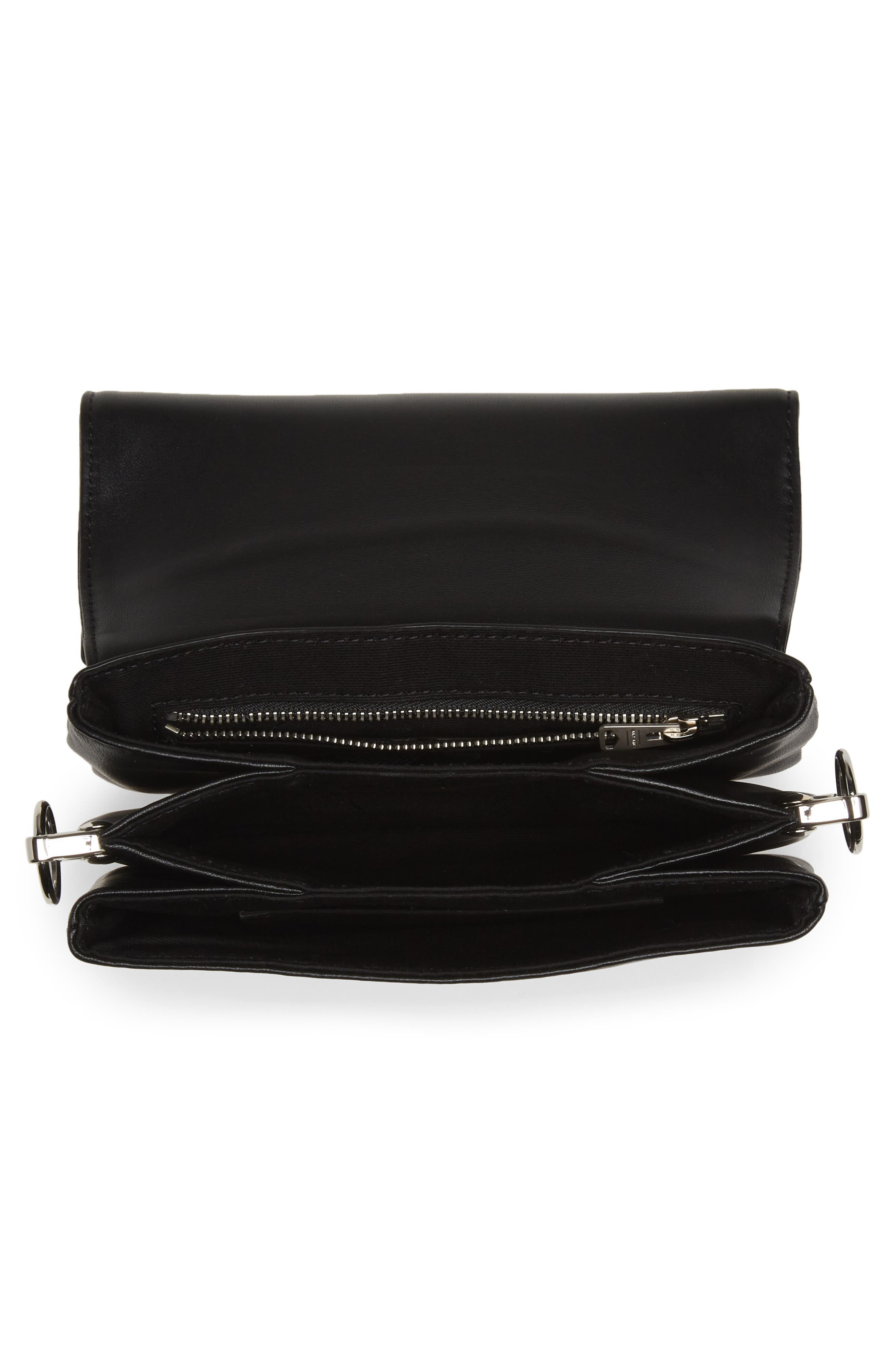 ALLSAINTS, Captain Mirror Flap Leather Shoulder Bag, Alternate thumbnail 5, color, GUNMETAL