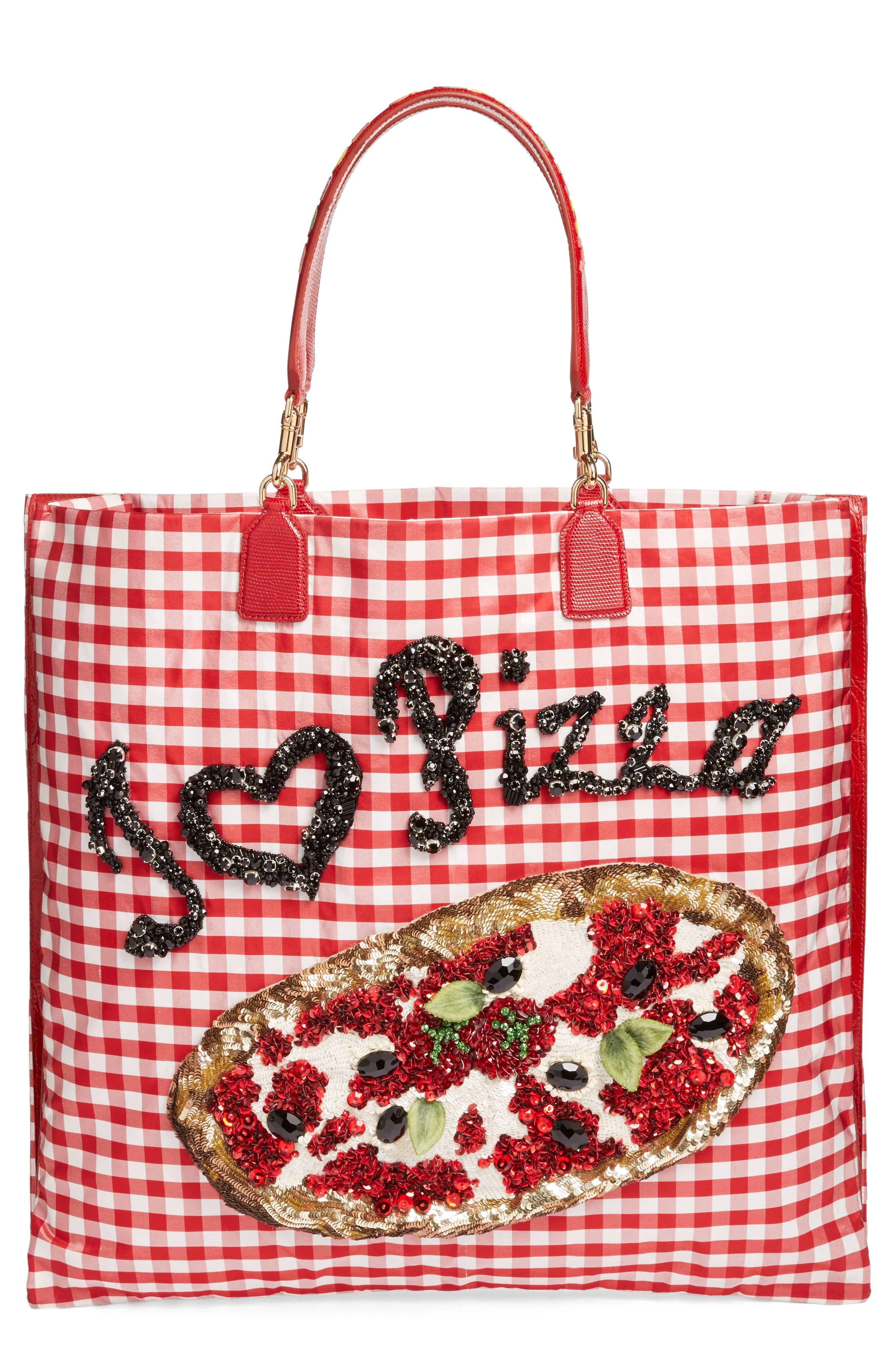 DOLCE&GABBANA, I Love Pizza Tote, Main thumbnail 1, color, 640