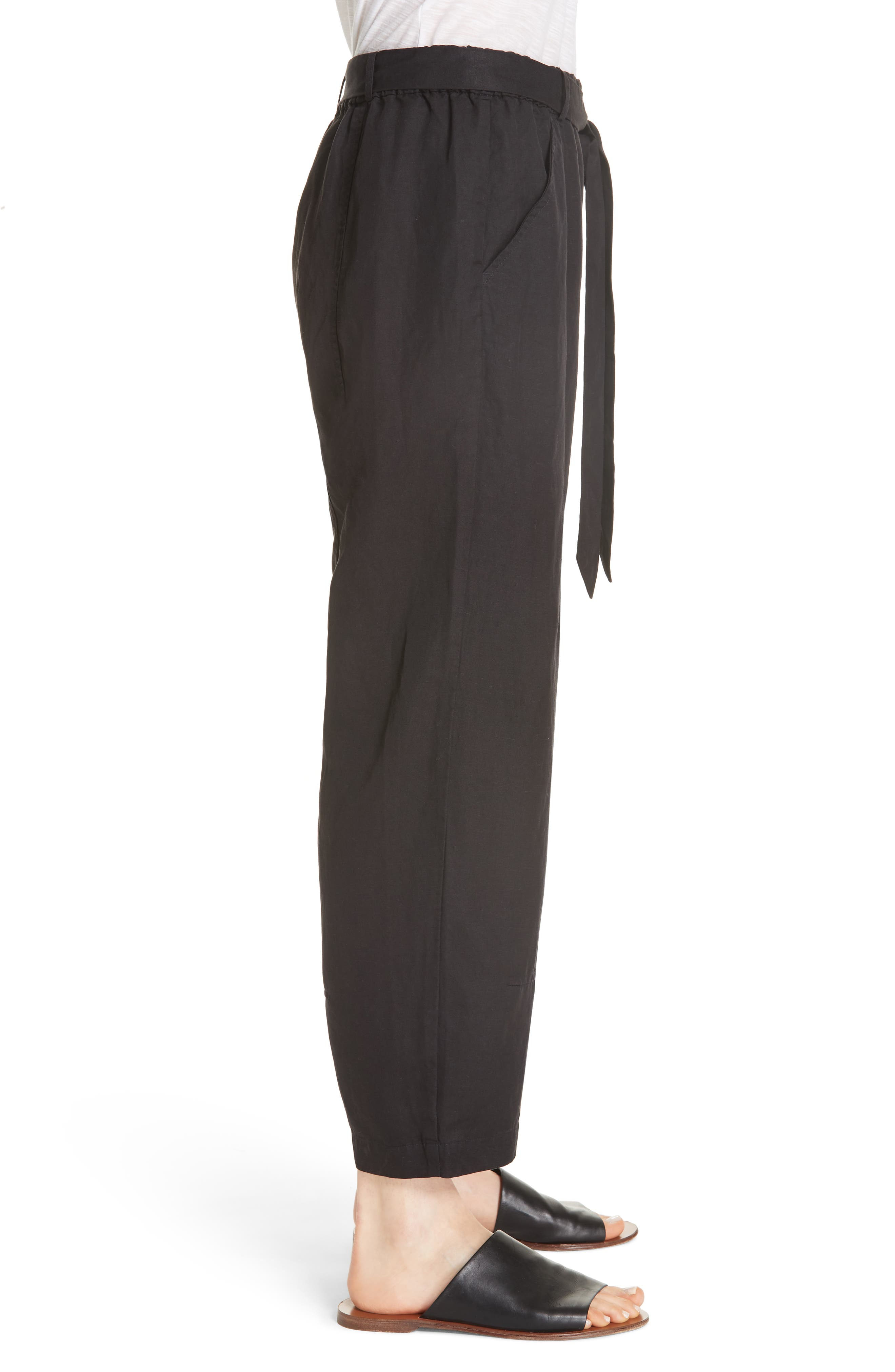 EILEEN FISHER, Lantern Twill Ankle Pants, Alternate thumbnail 4, color, 001