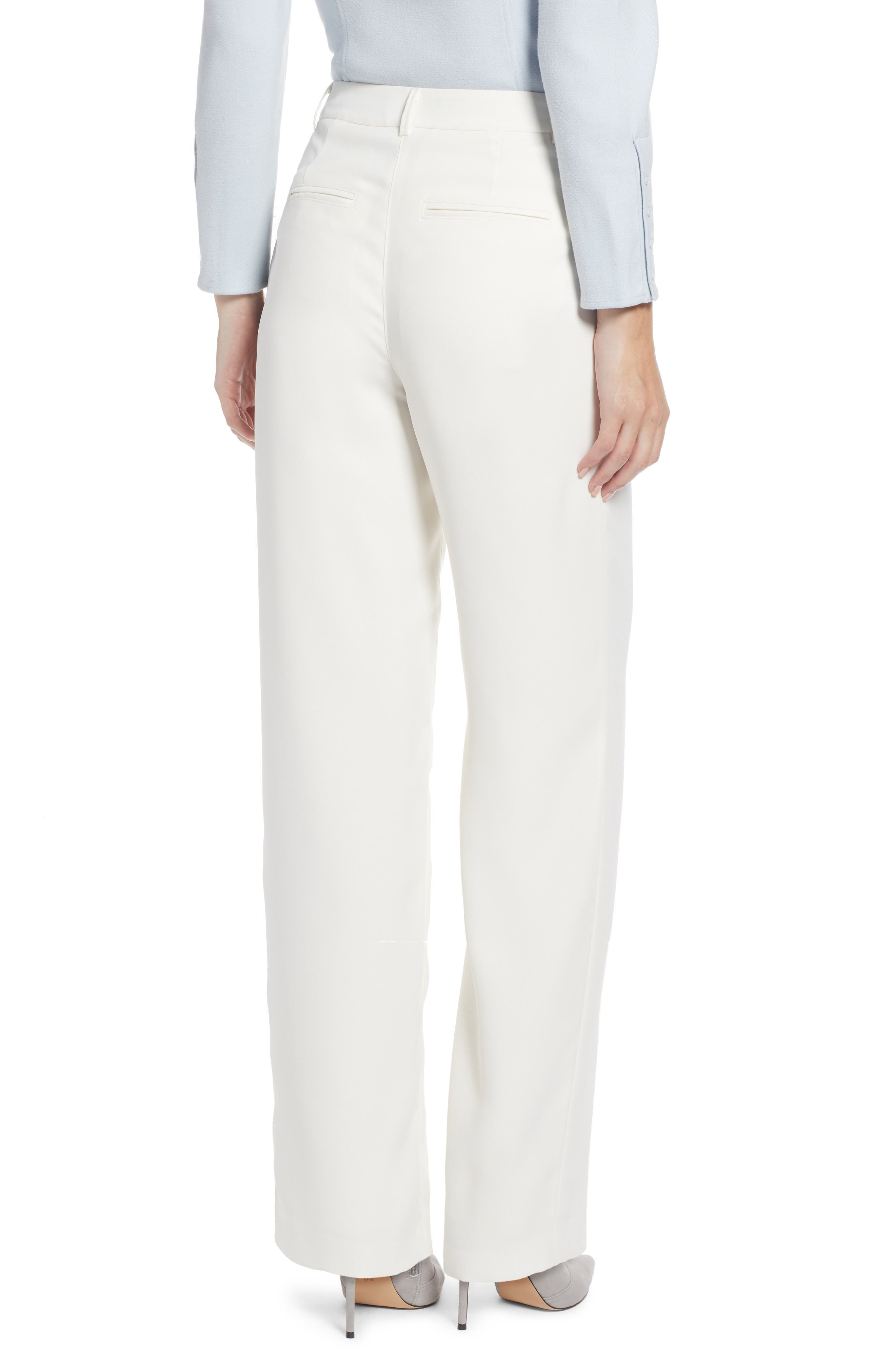 SOMETHING NAVY, Pleated Wide Leg Trousers, Alternate thumbnail 4, color, IVORY