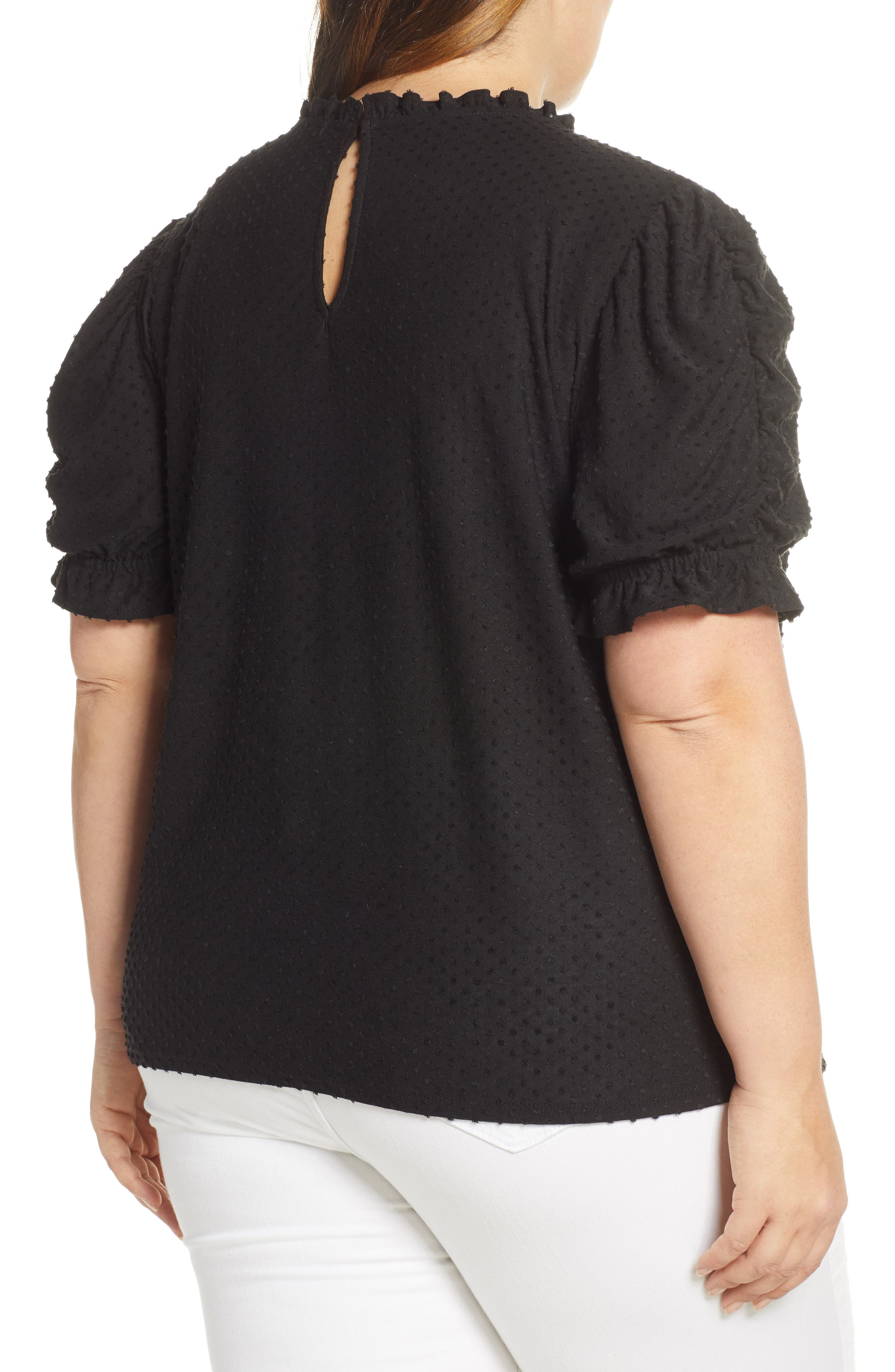 GIBSON, x International Women's Day Rebecca Clip Dot Ruffle Sleeve Blouse, Alternate thumbnail 2, color, CHARCOAL