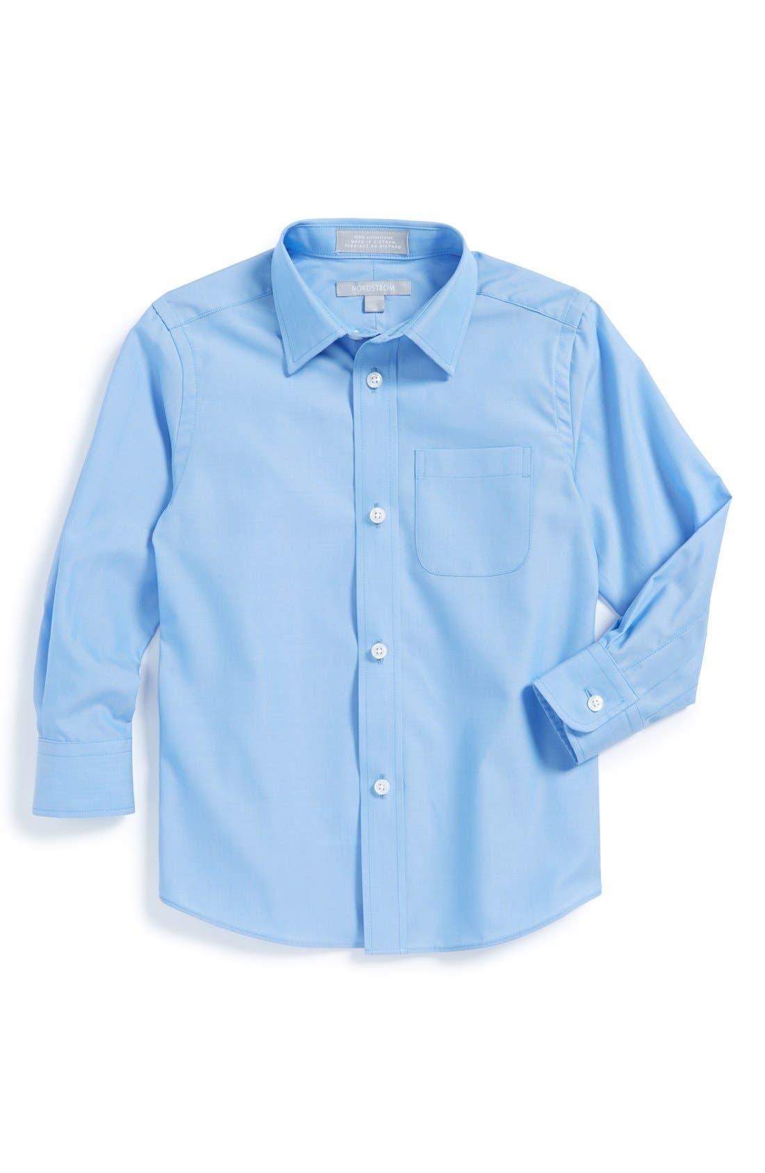 NORDSTROM, Cotton Poplin Dress Shirt, Main thumbnail 1, color, BLUE SMART
