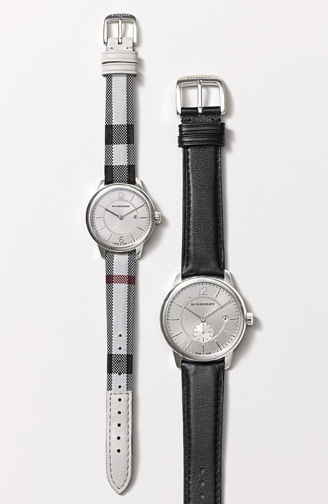 BURBERRY, Textured Dial Watch, 40mm, Alternate thumbnail 4, color, 001