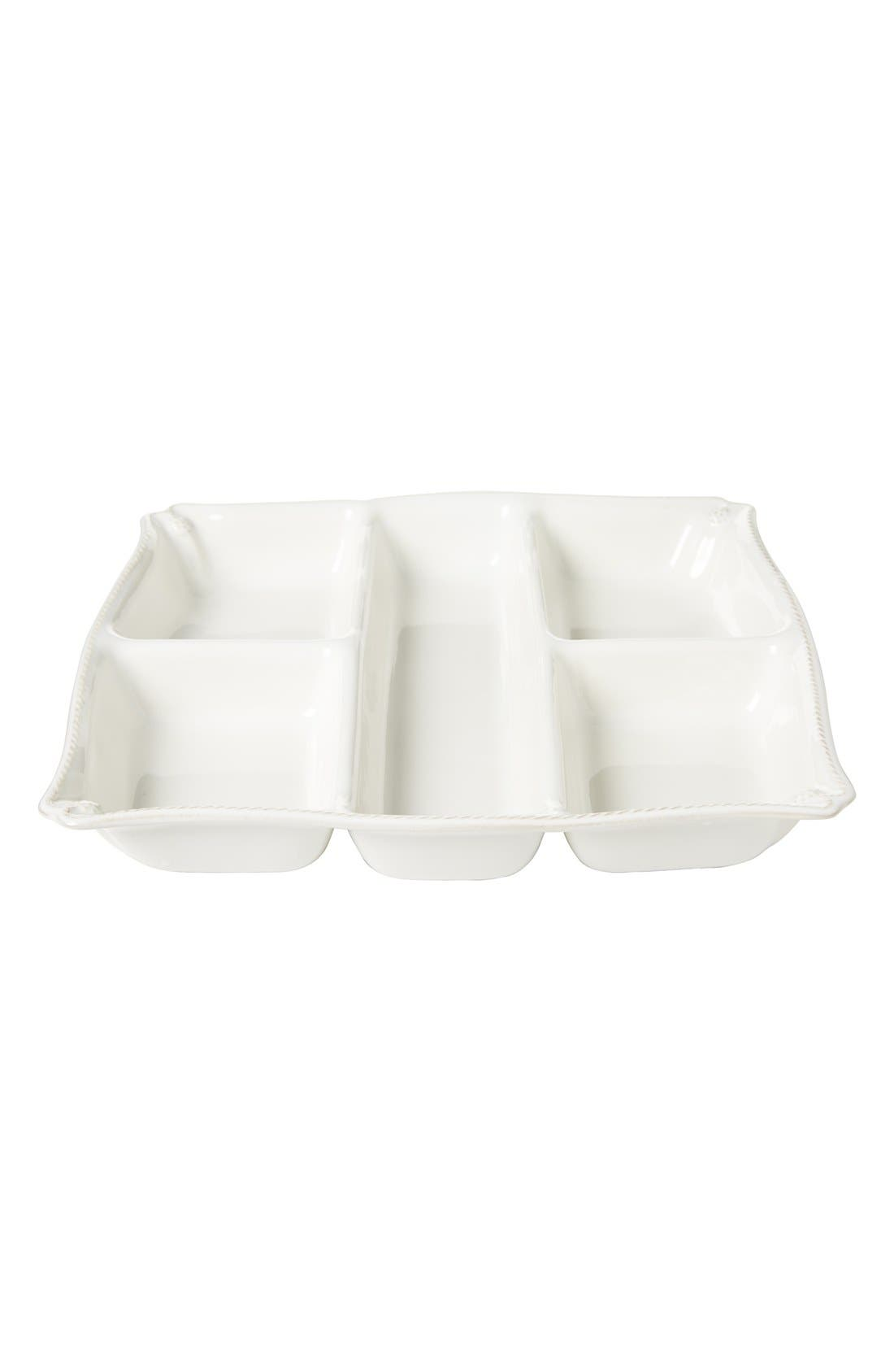 JULISKA, 'Berry and Thread' Ceramic Appetizer Platter, Alternate thumbnail 3, color, WHITEWASH