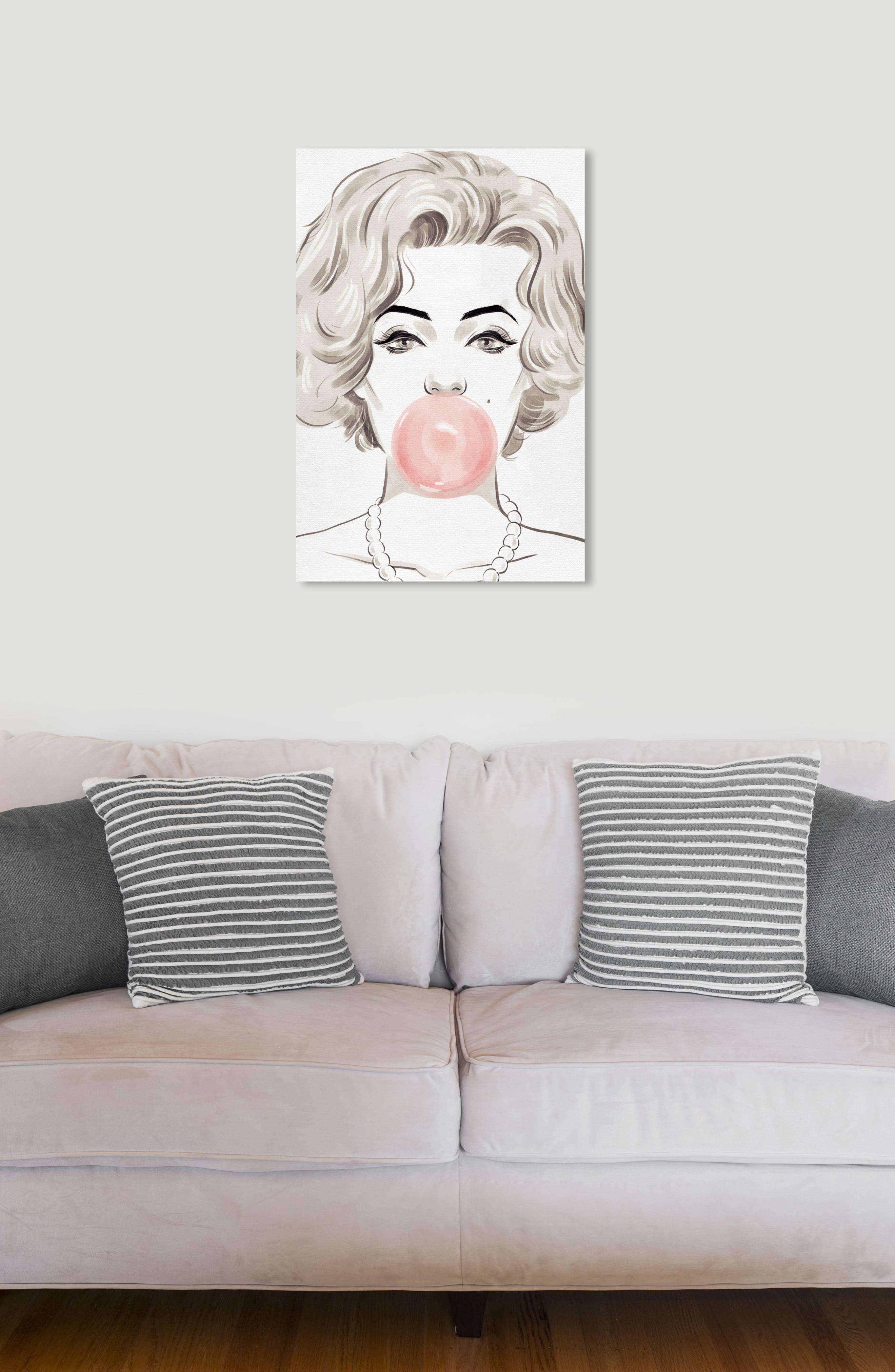 OLIVER GAL, Bubblegum Beauty Canvas Wall Art, Alternate thumbnail 5, color, PINK