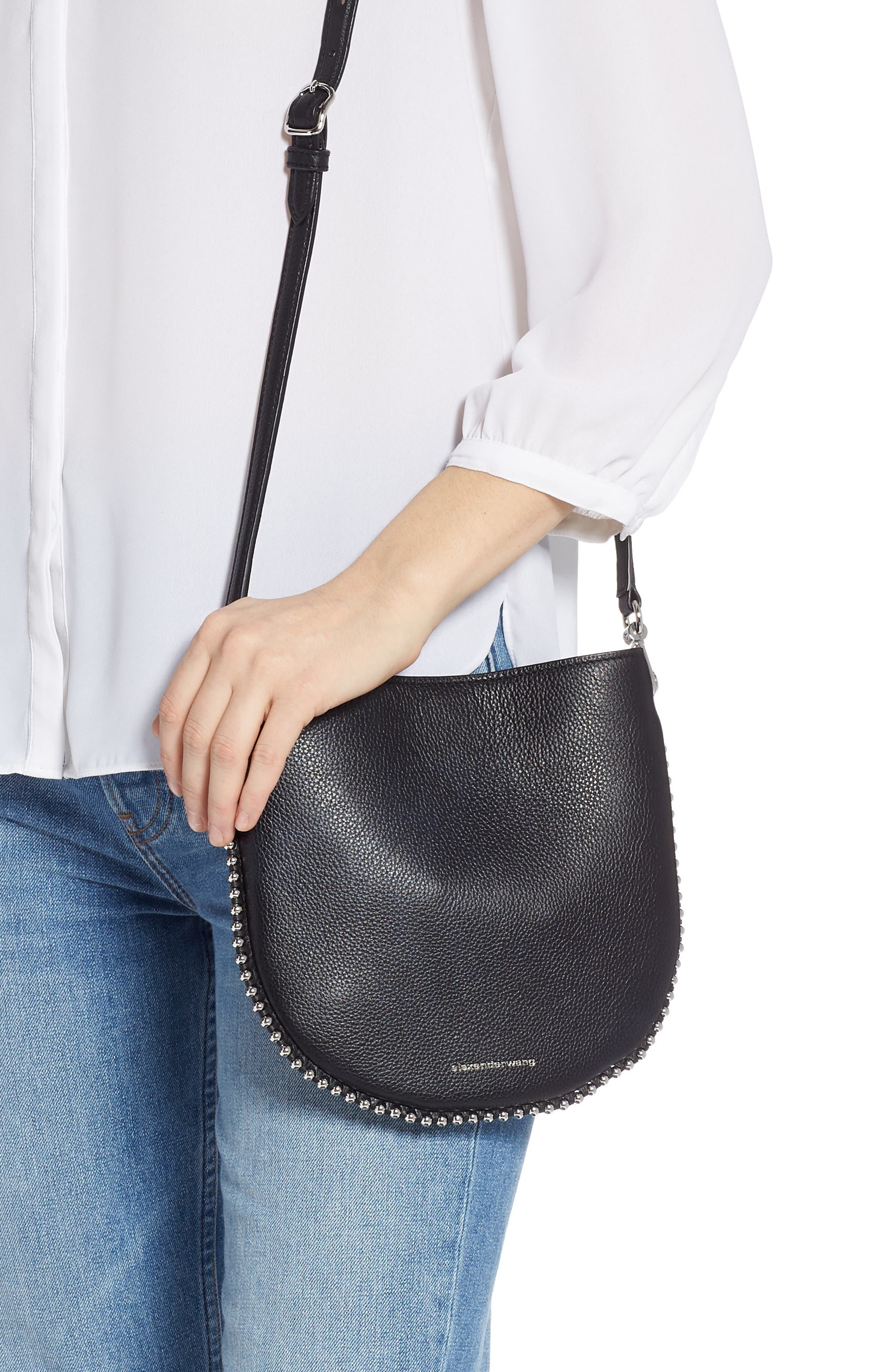 ALEXANDER WANG, Mini Roxy Leather Hobo Bag, Alternate thumbnail 2, color, BLACK/ WHITE
