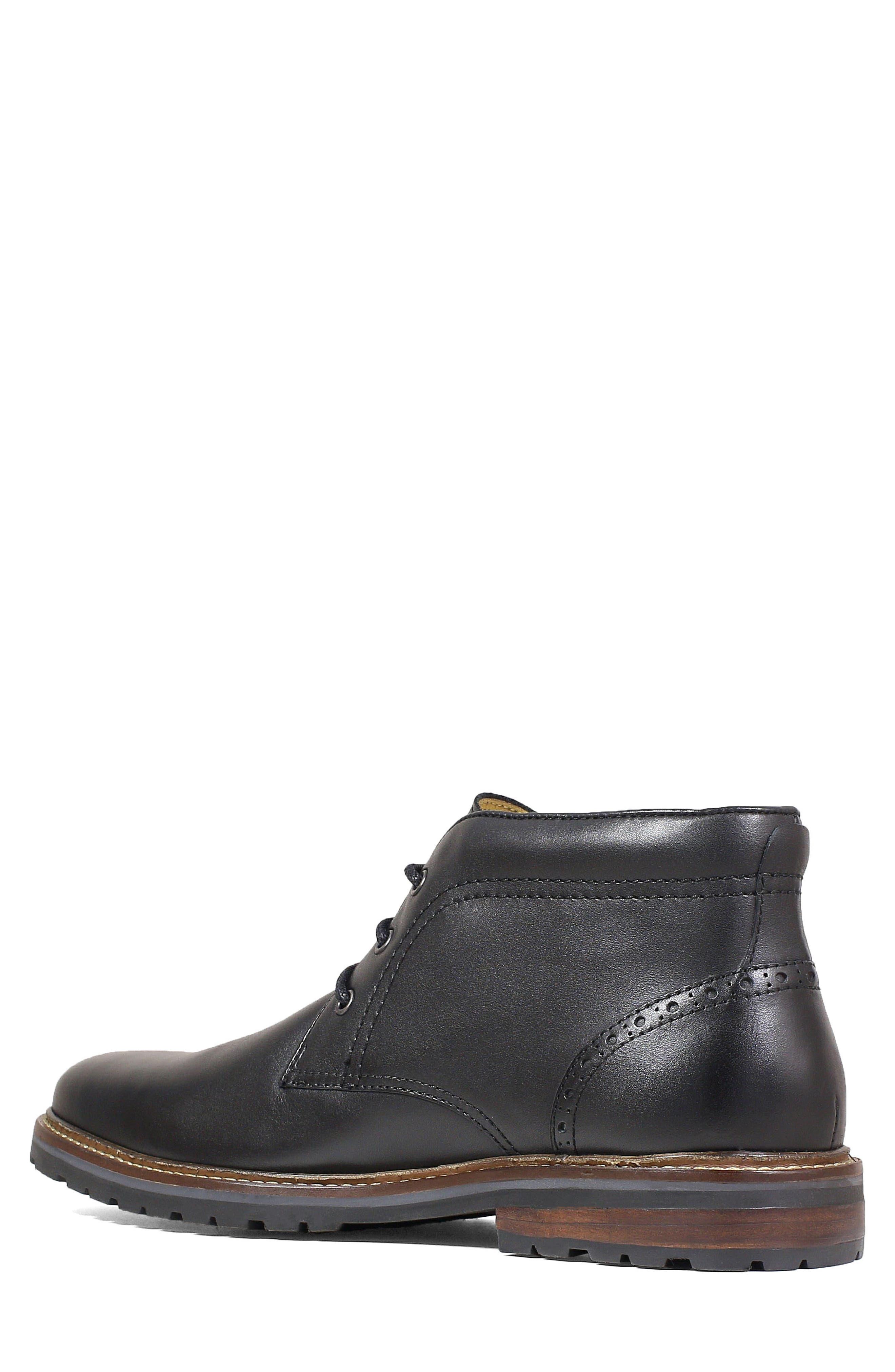 FLORSHEIM, Estabrook Lugged Chukka Boot, Alternate thumbnail 2, color, BLACK LEATHER