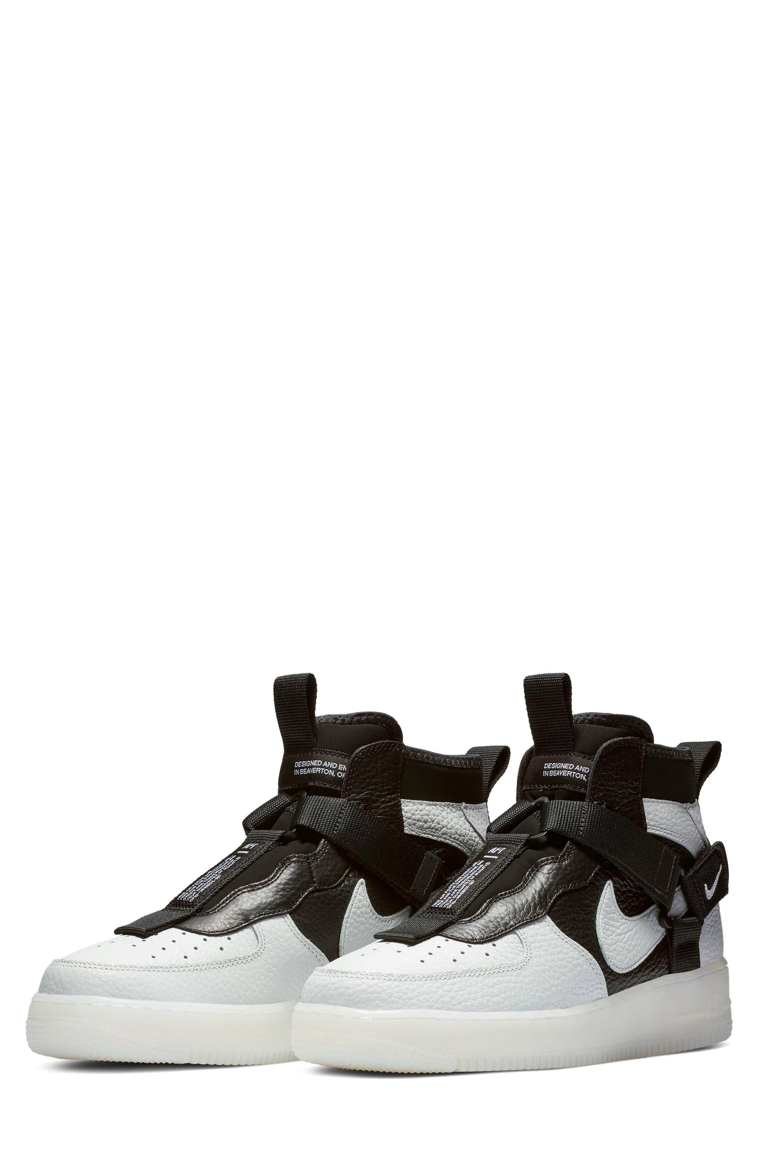 NIKE, Air Force 1 Utility Mid Sneaker, Main thumbnail 1, color, OFF WHITE/ BLACK/ WHITE