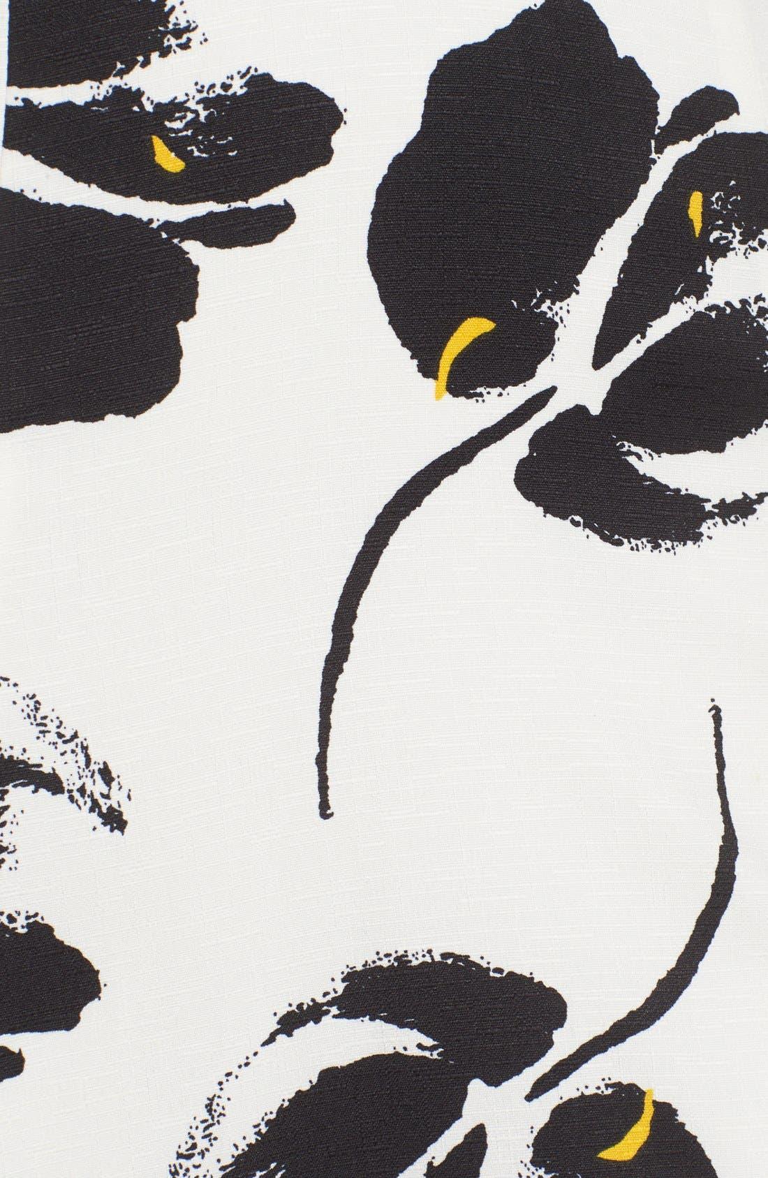 ---, Floral Print Miniskirt, Alternate thumbnail 6, color, 100