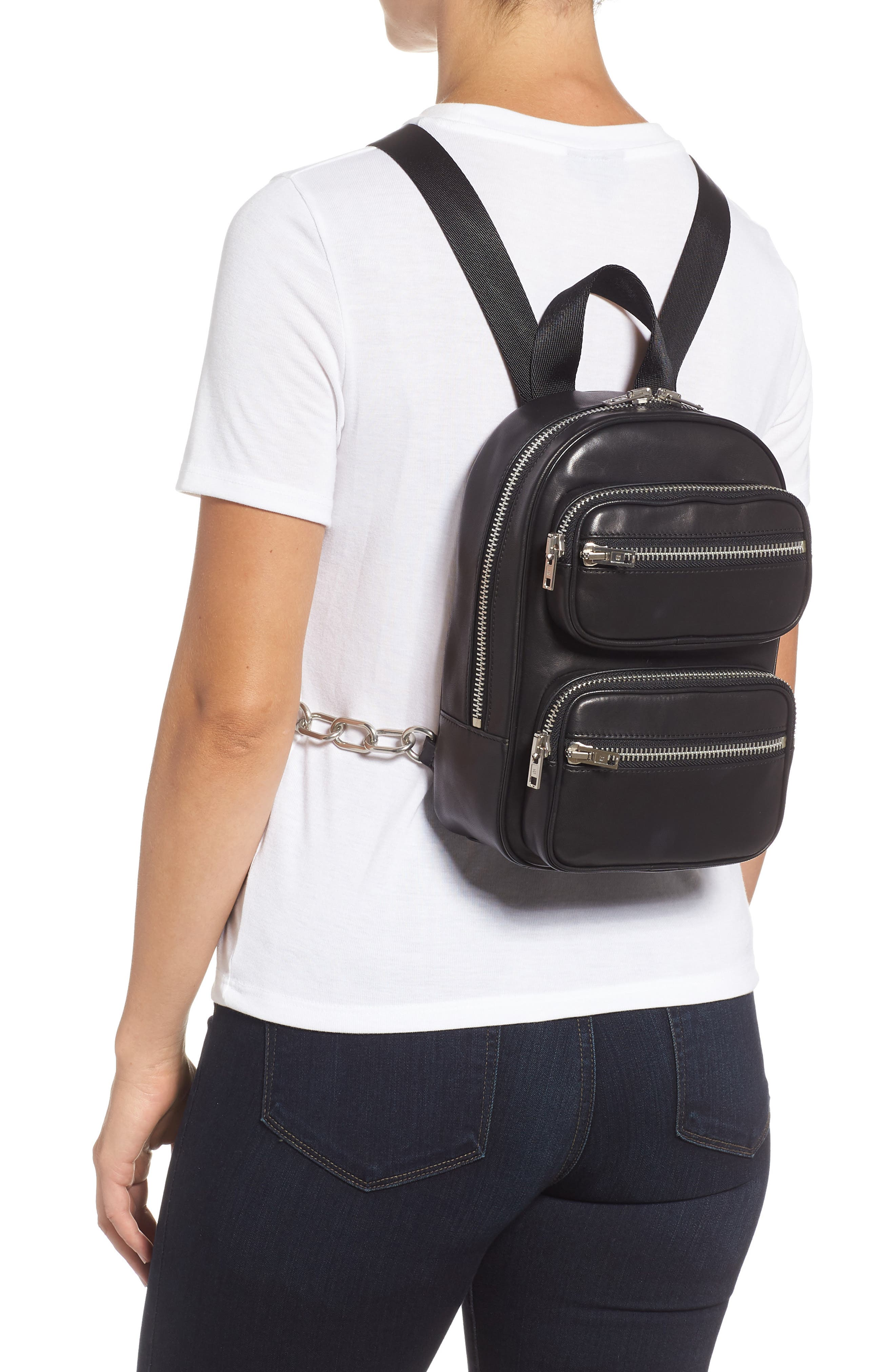ALEXANDER WANG, Attica Lambskin Leather Backpack, Alternate thumbnail 2, color, BLACK