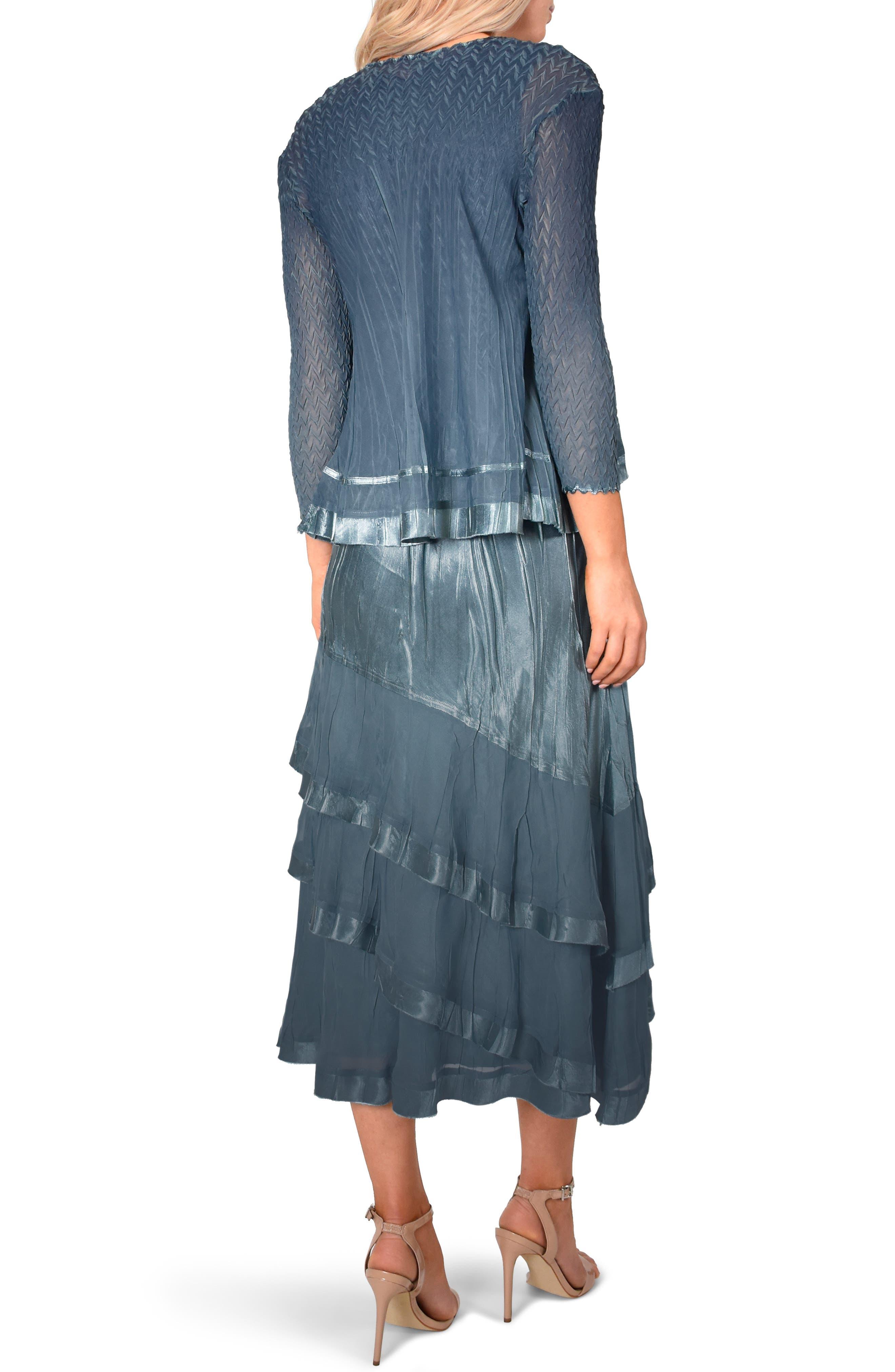 KOMAROV, Asymmetrical Jacket Dress, Alternate thumbnail 2, color, SILVER BLUE NIGHT OMBRE
