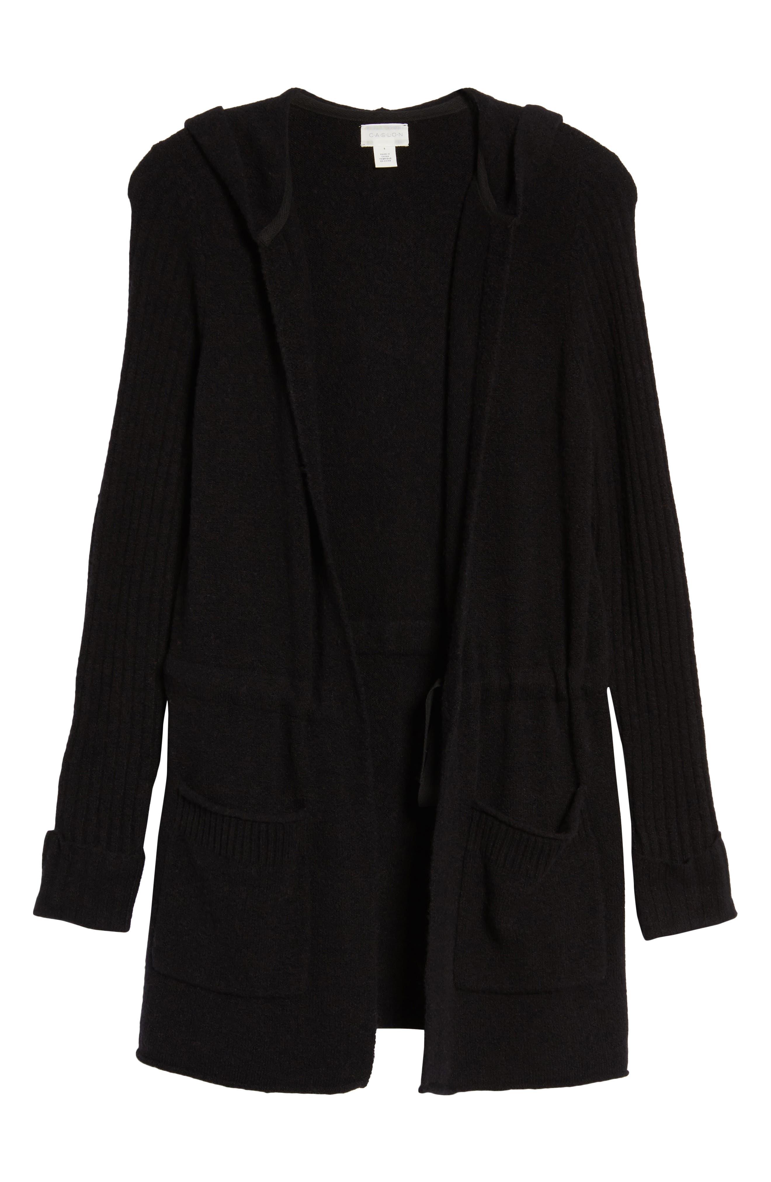 CASLON<SUP>®</SUP>, Hooded Cardigan, Alternate thumbnail 6, color, BLACK
