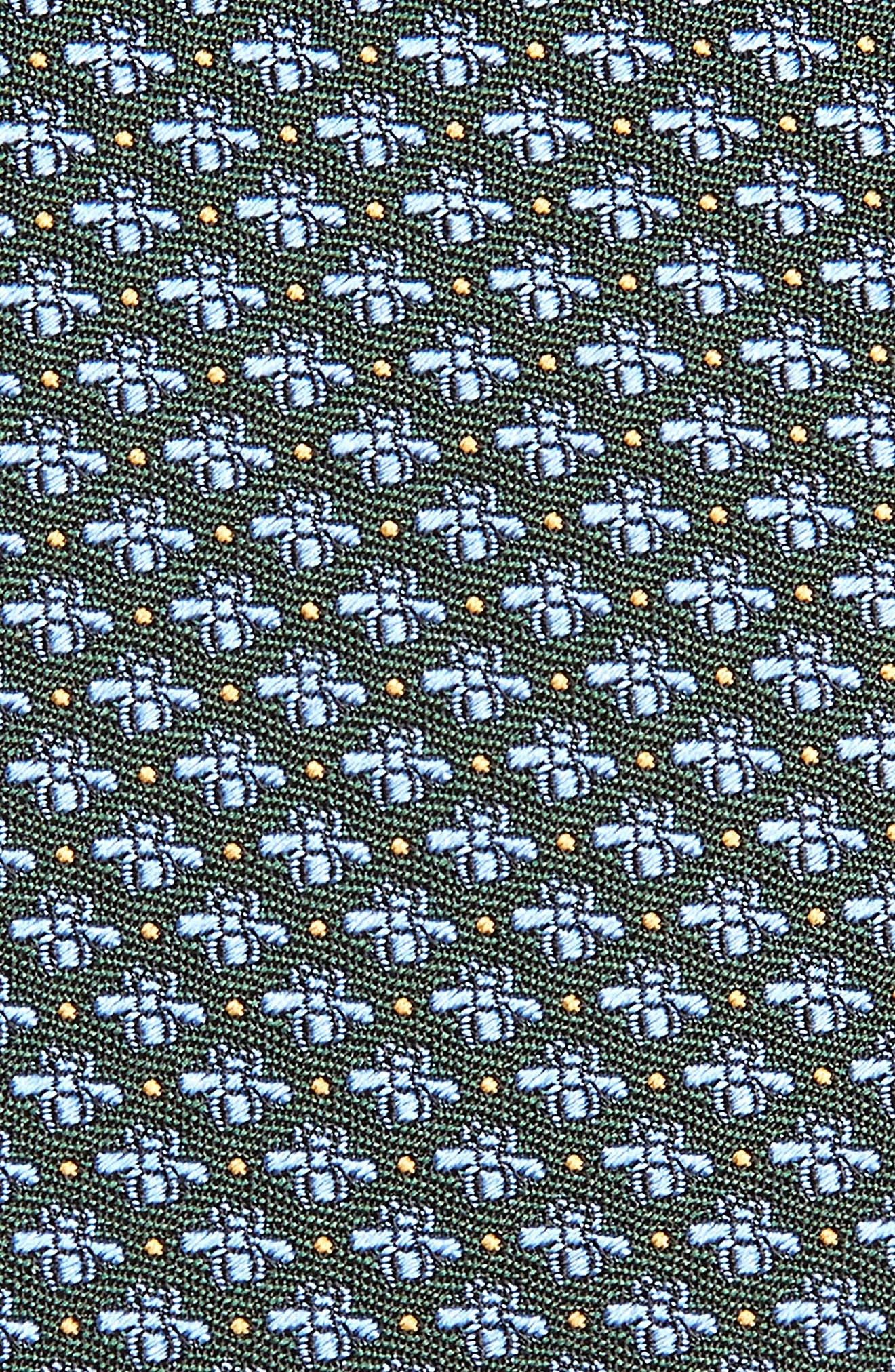 GUCCI, 7.0 Woven Silk Tie, Alternate thumbnail 2, color, SAGE