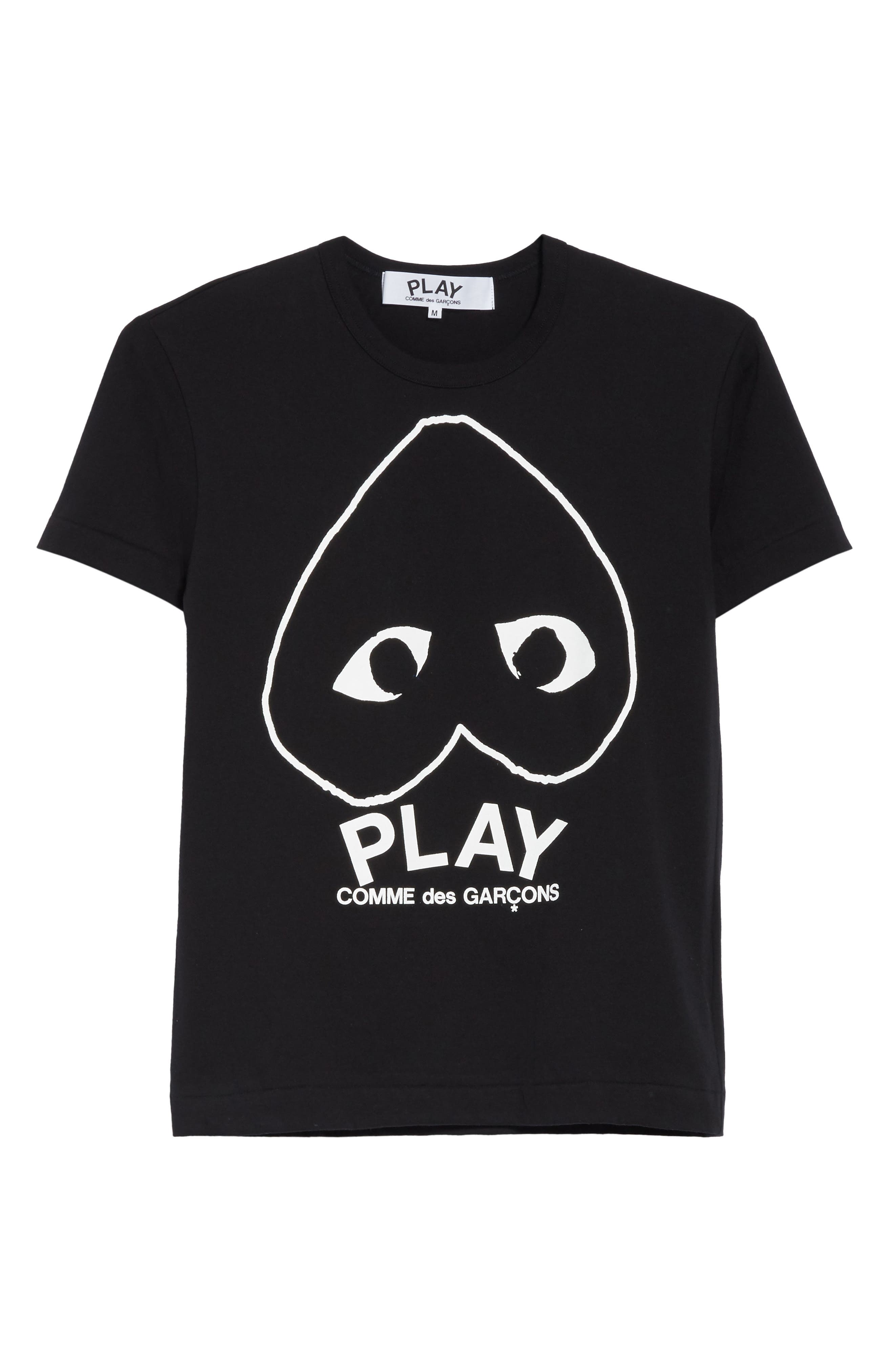 COMME DES GARÇONS PLAY, Inverted Heart Logo T-Shirt, Alternate thumbnail 6, color, BLACK