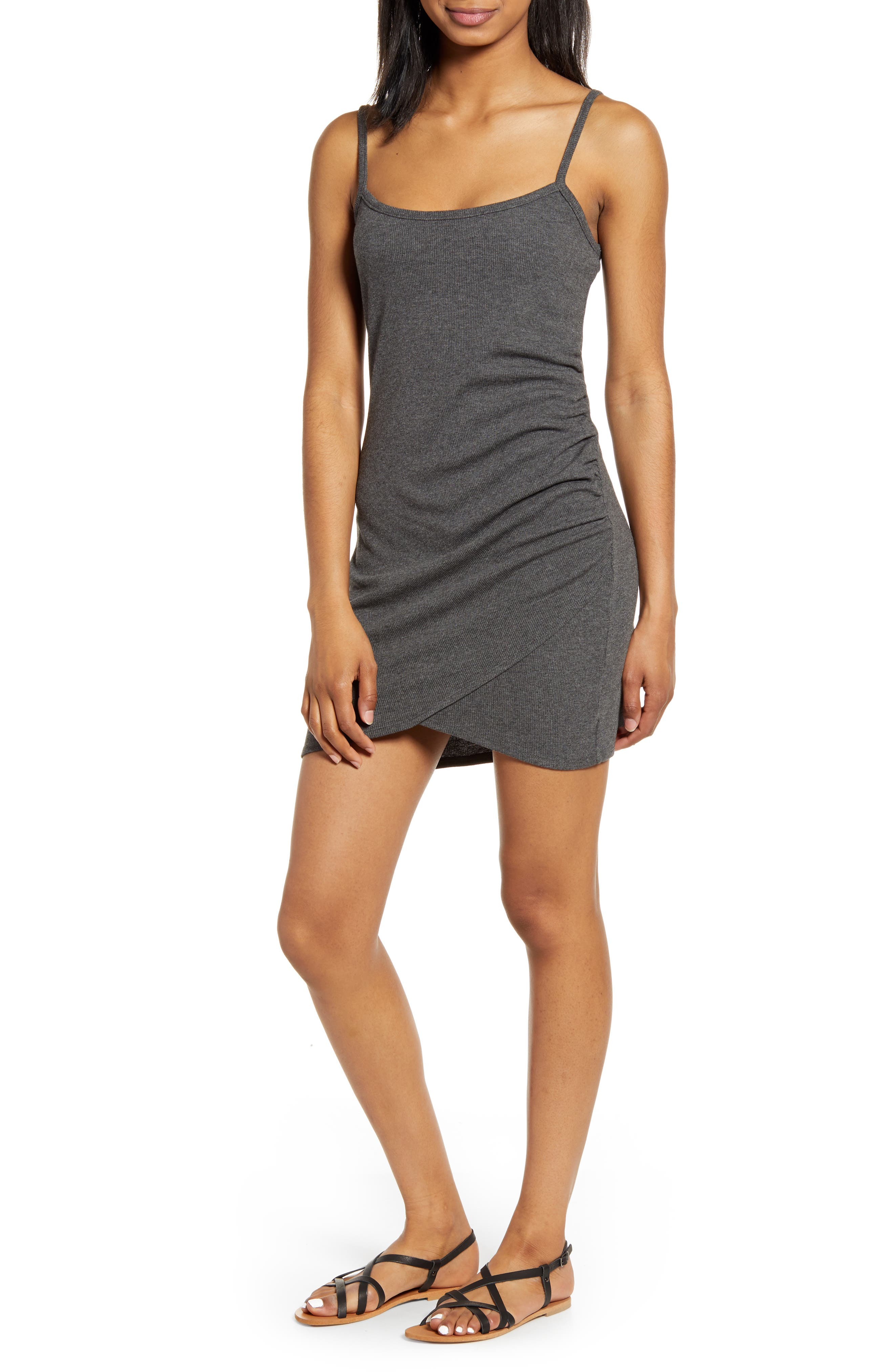 Love, Fire Side Ruched Camisole Dress, Grey