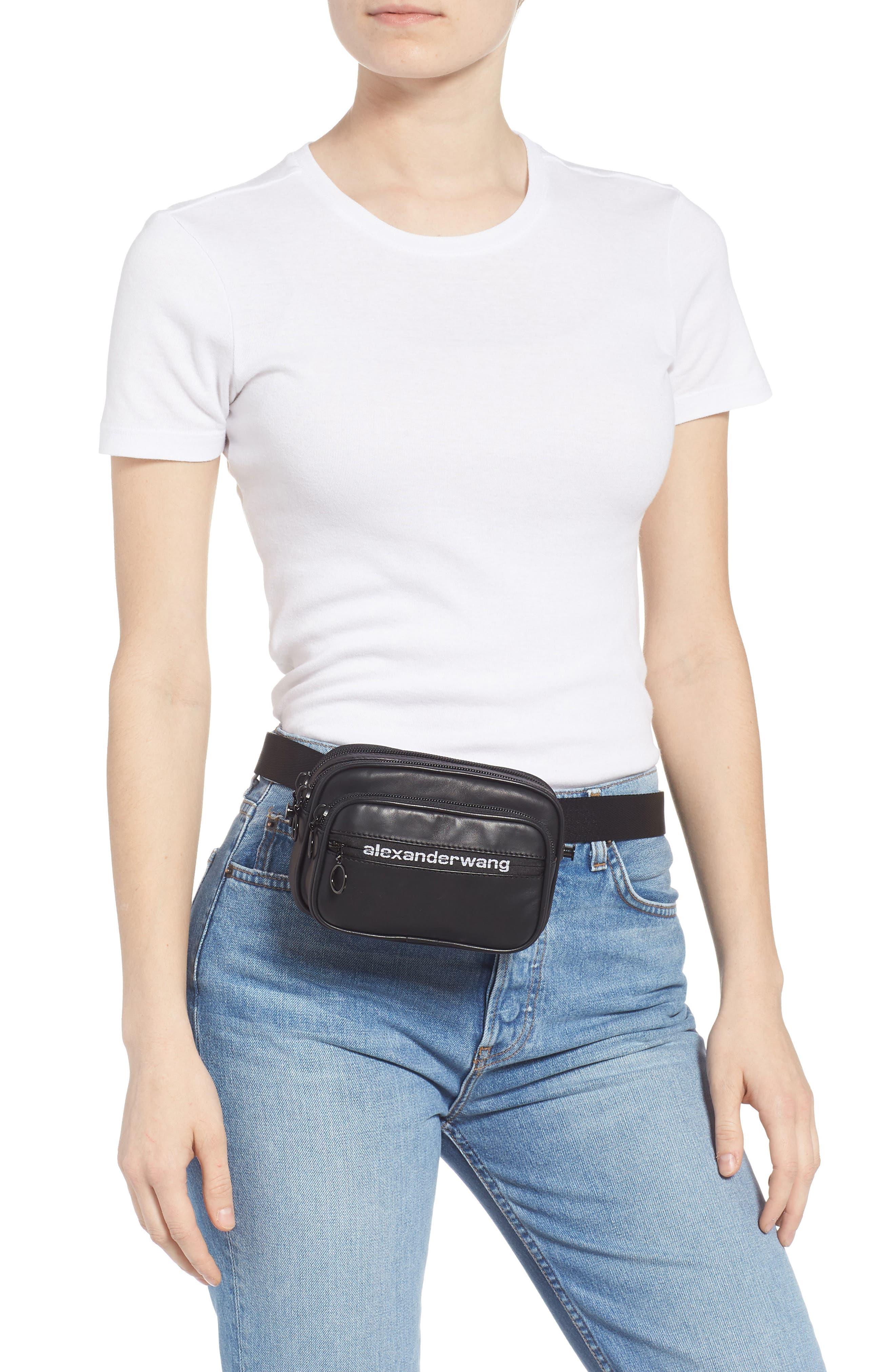 ALEXANDER WANG, Attica Logo Leather Belt Bag, Alternate thumbnail 4, color, BLACK