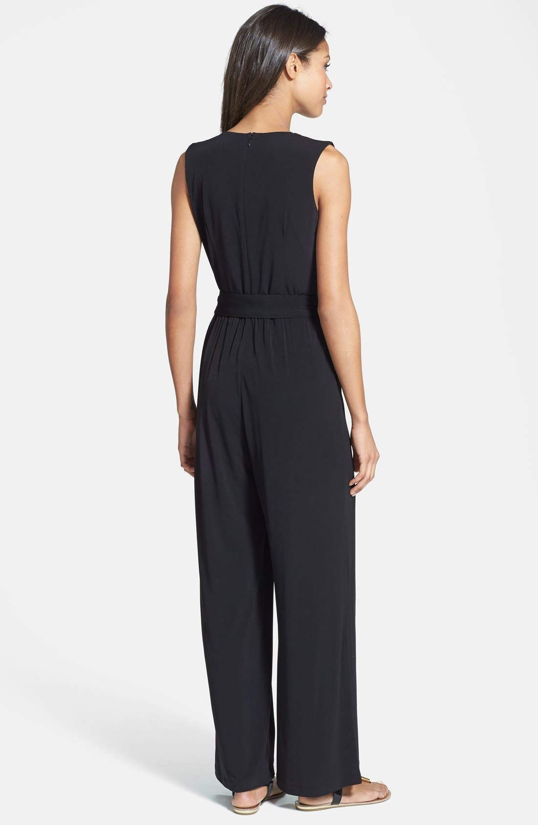 VINCE CAMUTO, Faux Wrap Jersey Jumpsuit, Alternate thumbnail 8, color, BLACK