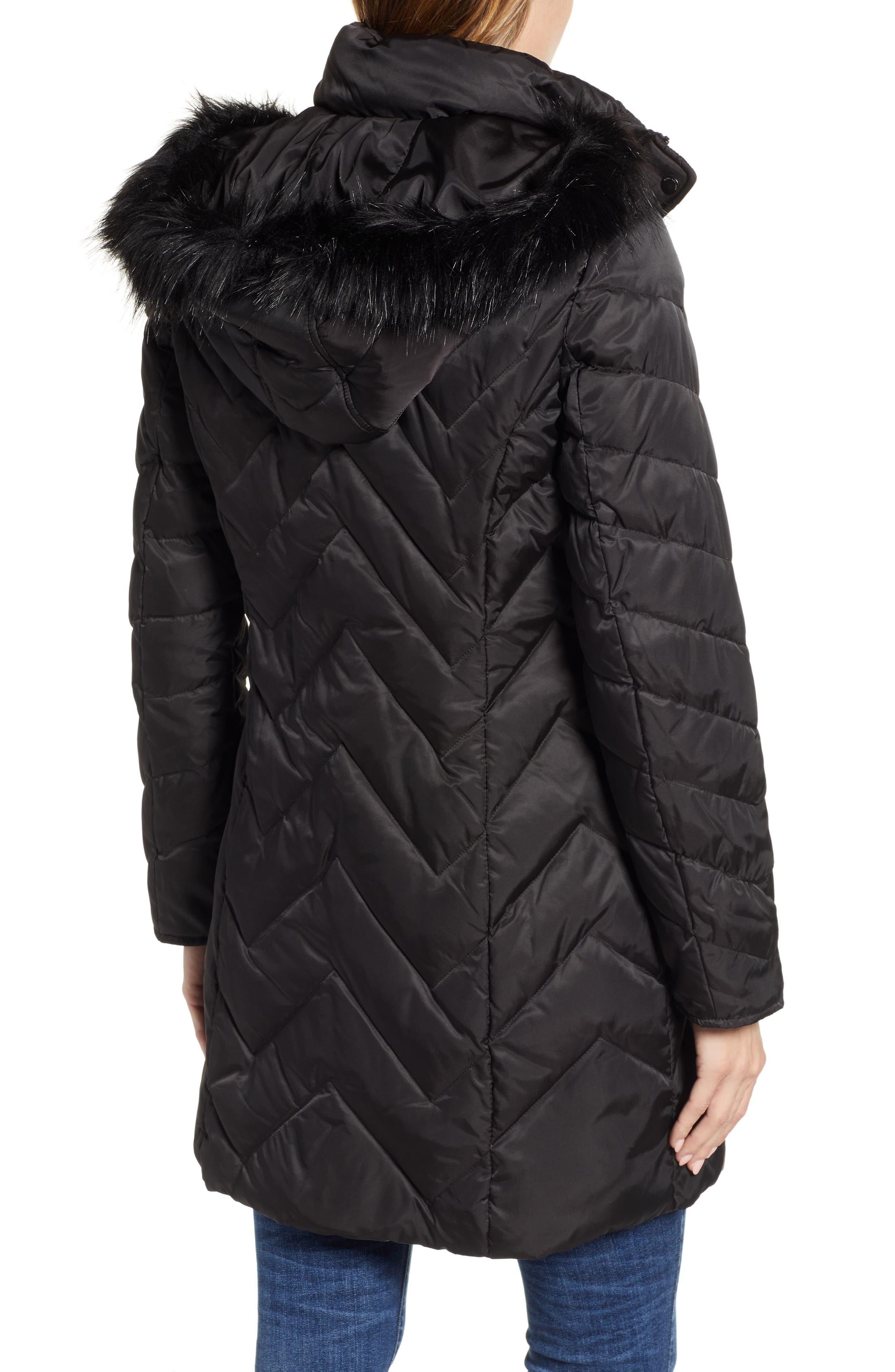 MARC NEW YORK, Matte Satin Chevron Faux Fur Trim Coat, Alternate thumbnail 2, color, BLACK