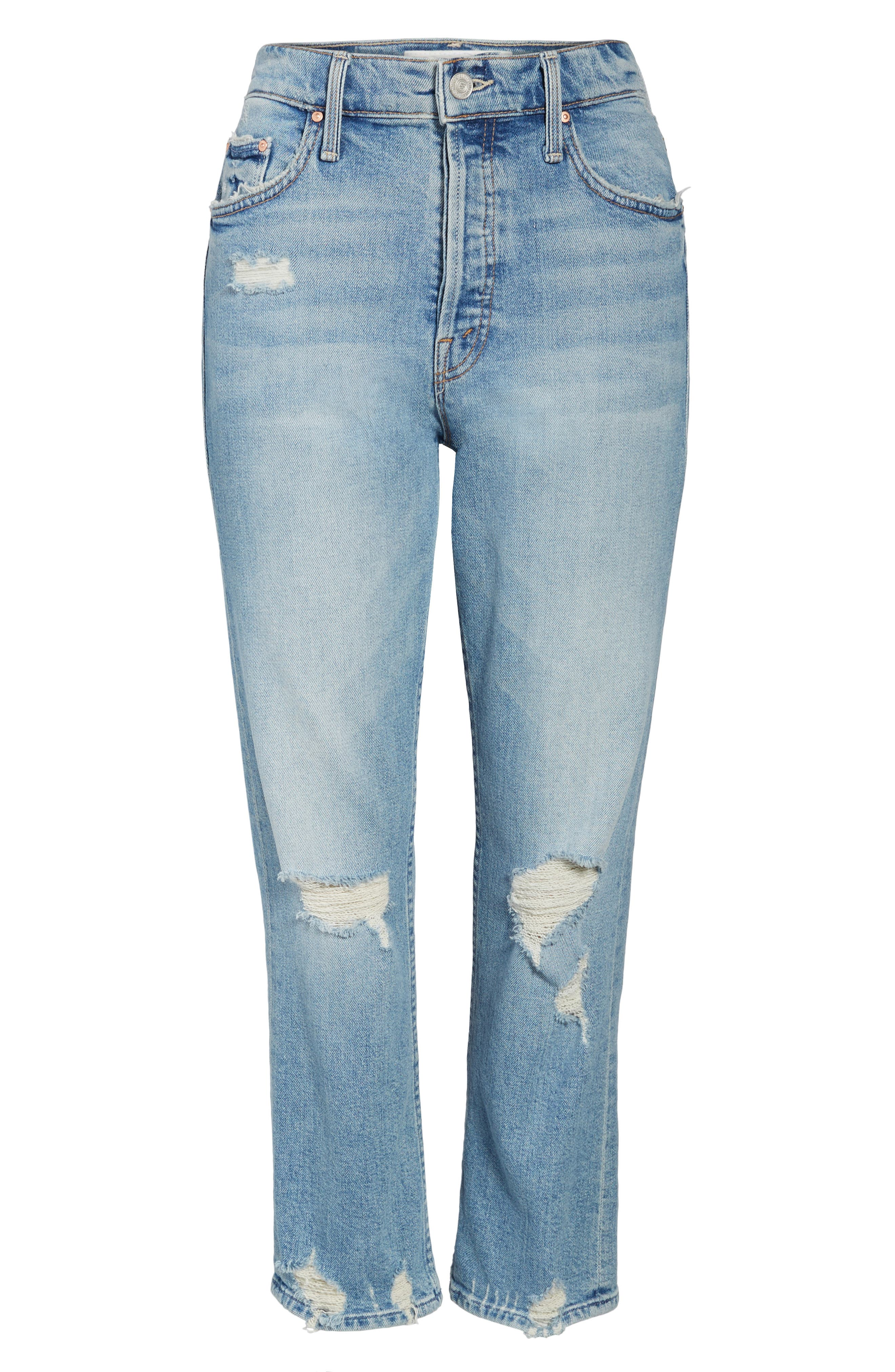 MOTHER, The Tomcat Ripped Crop Straight Leg Jeans, Alternate thumbnail 7, color, THE CONFESSION