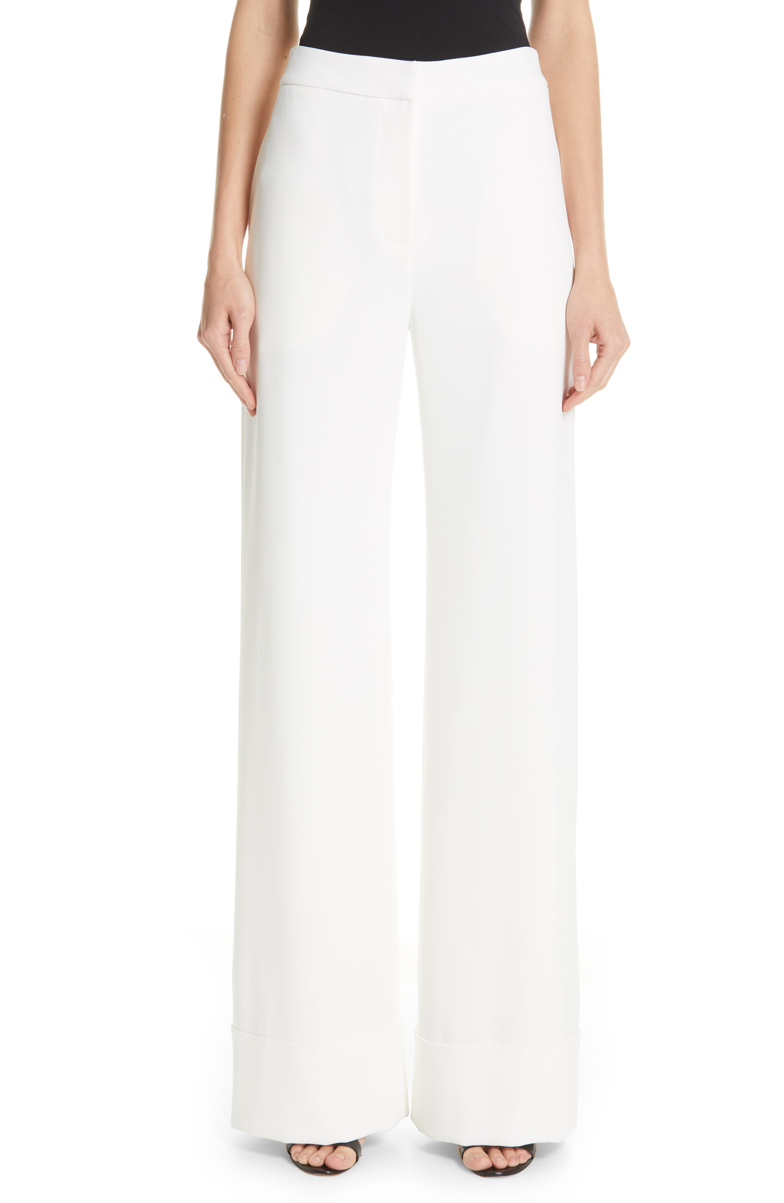 BRANDON MAXWELL Wide Leg Cuff Pants, Main, color, IVORY