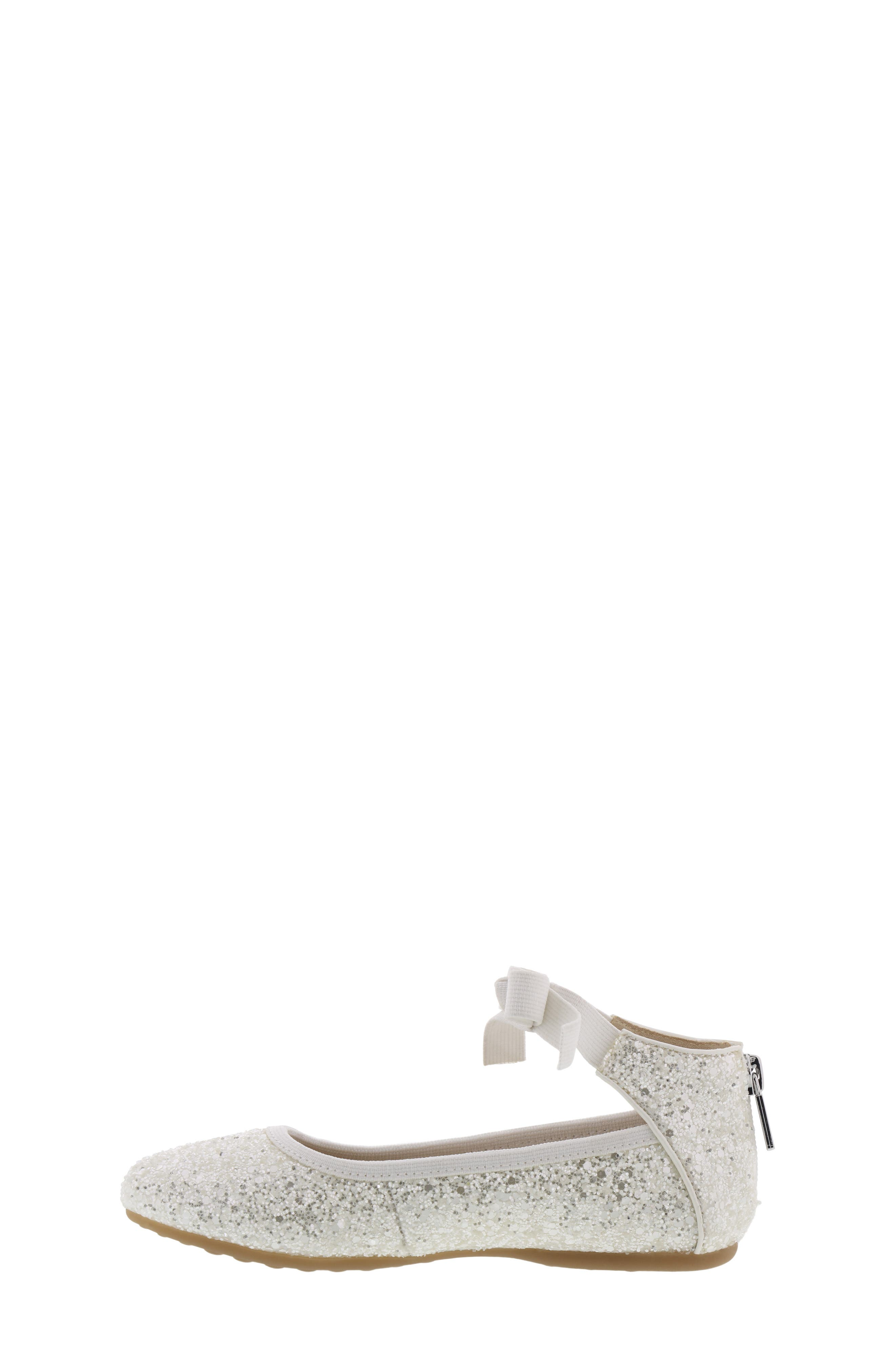 KENNETH COLE NEW YORK, Rose Bow Ballet Flat, Alternate thumbnail 8, color, WHITE SUGAR GLITTER