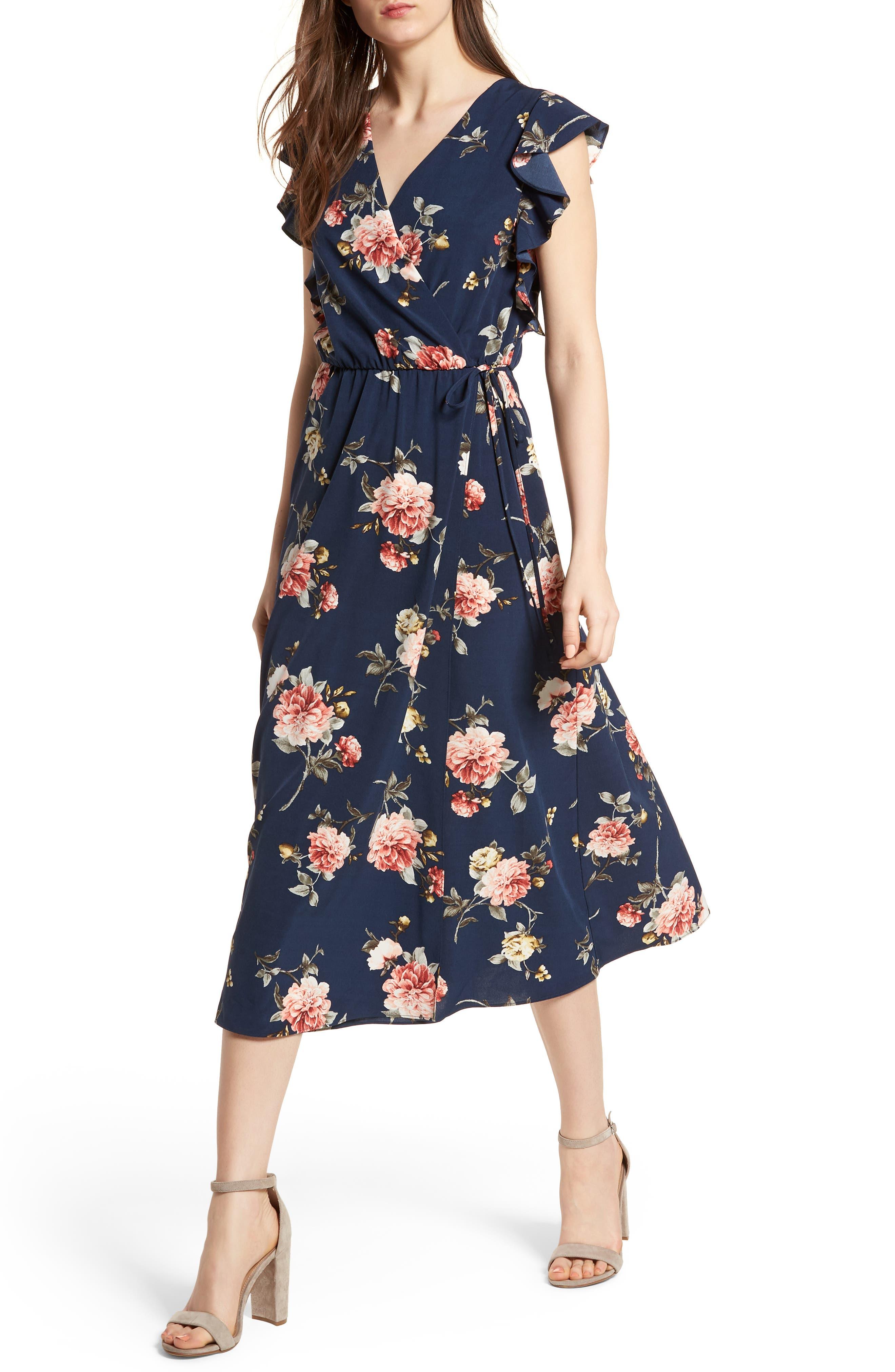 SOPRANO, Wrap Midi Dress, Alternate thumbnail 4, color, 400